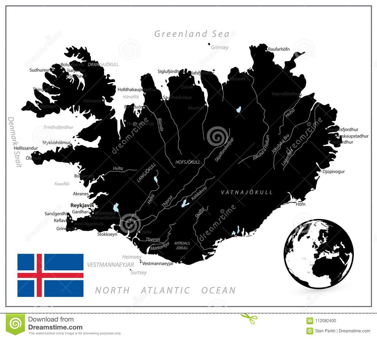 Iceland Map Black Color stock vector. Illustration of atlantic ...