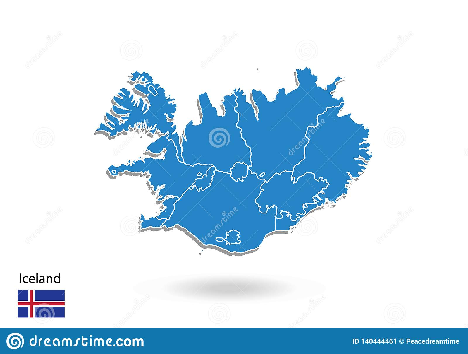 Iceland Map Design With 3D Style. Blue Iceland Map And ...