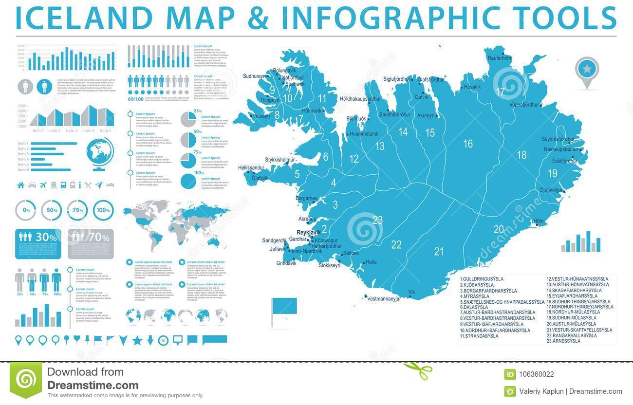 Iceland Map - Info Graphic Vector Illustration Stock Illustration ...