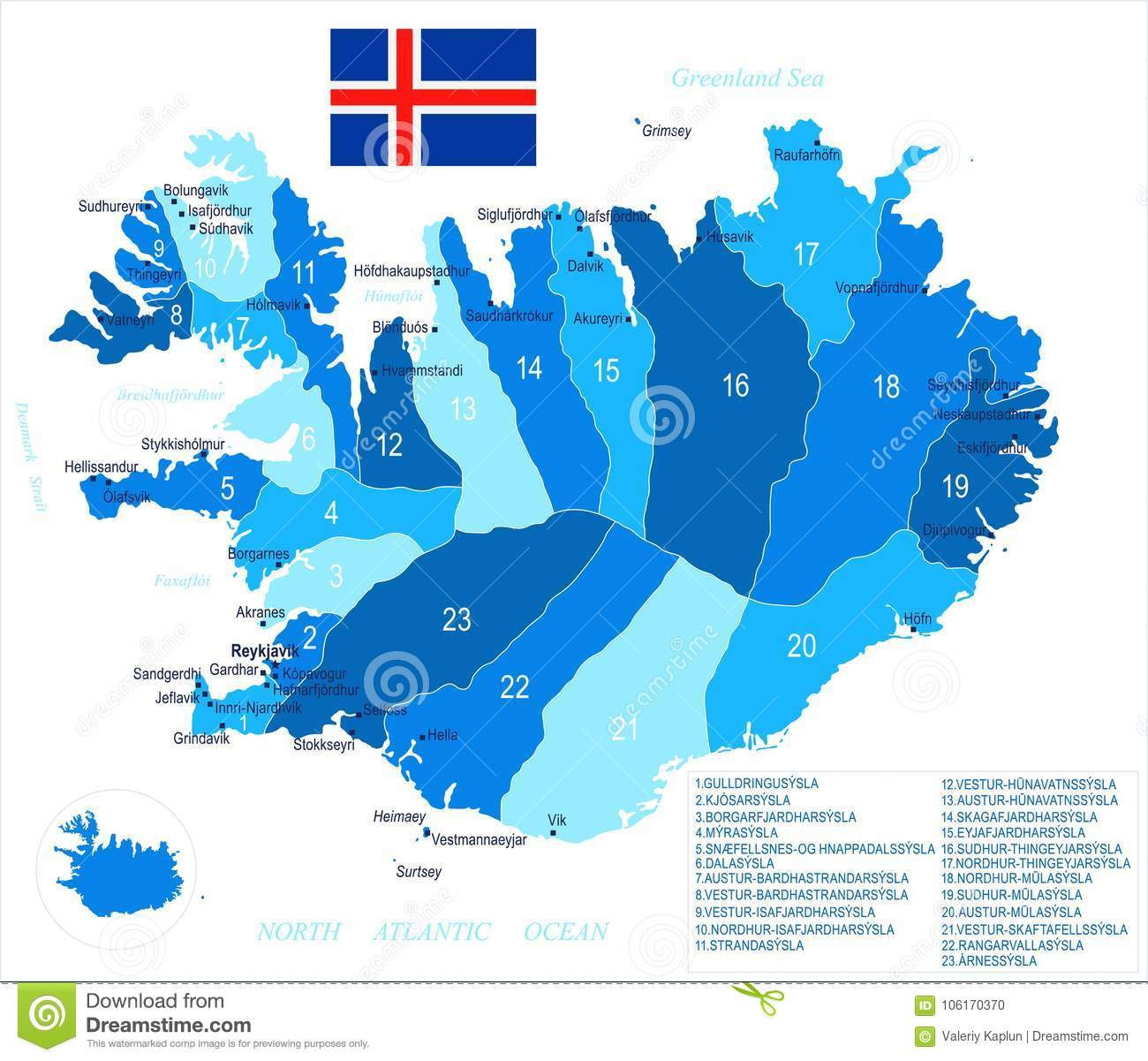 Iceland - Map And Flag - Detailed Vector Illustration Stock ...