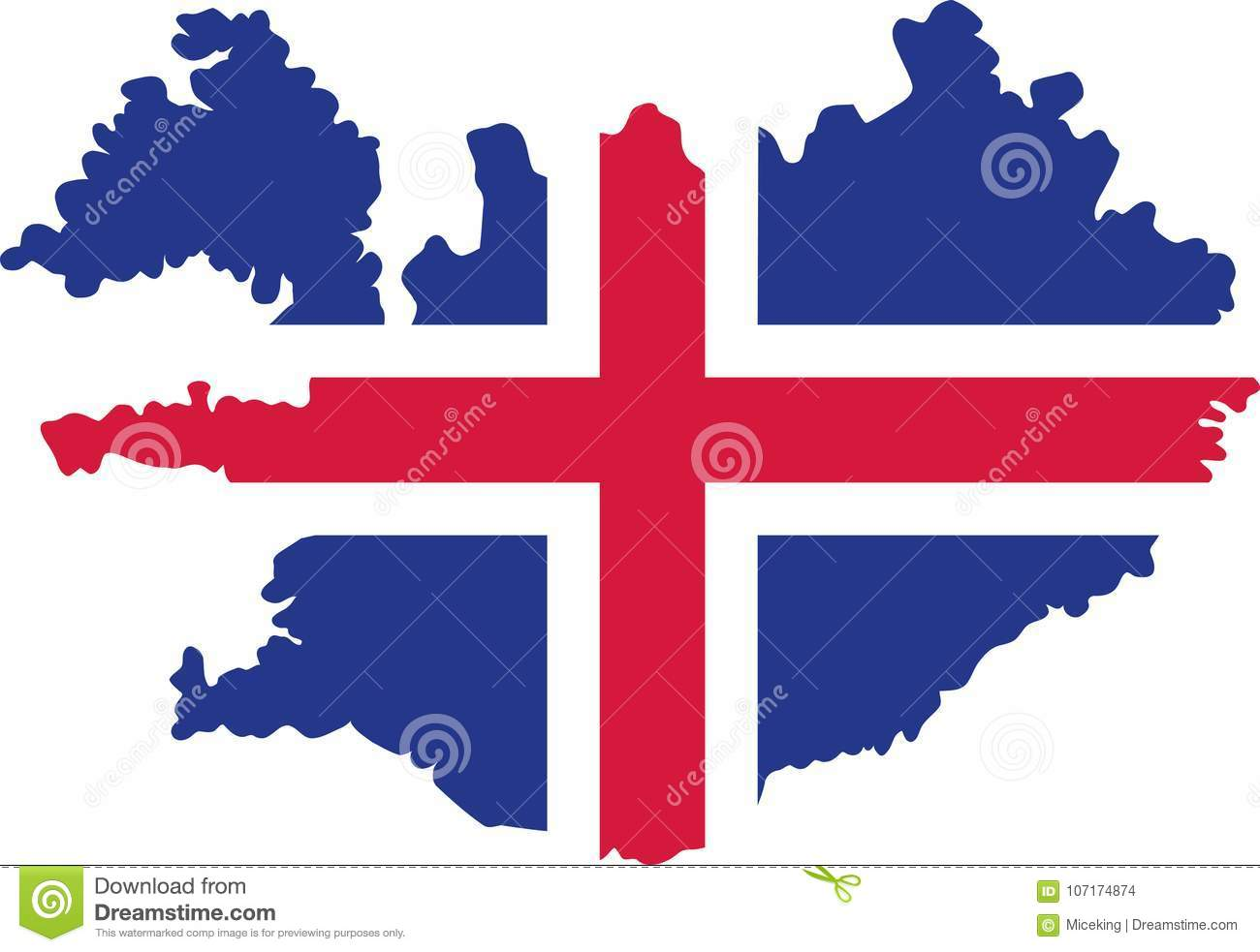 Iceland map with flag stock vector. Illustration of symbol - 107174874