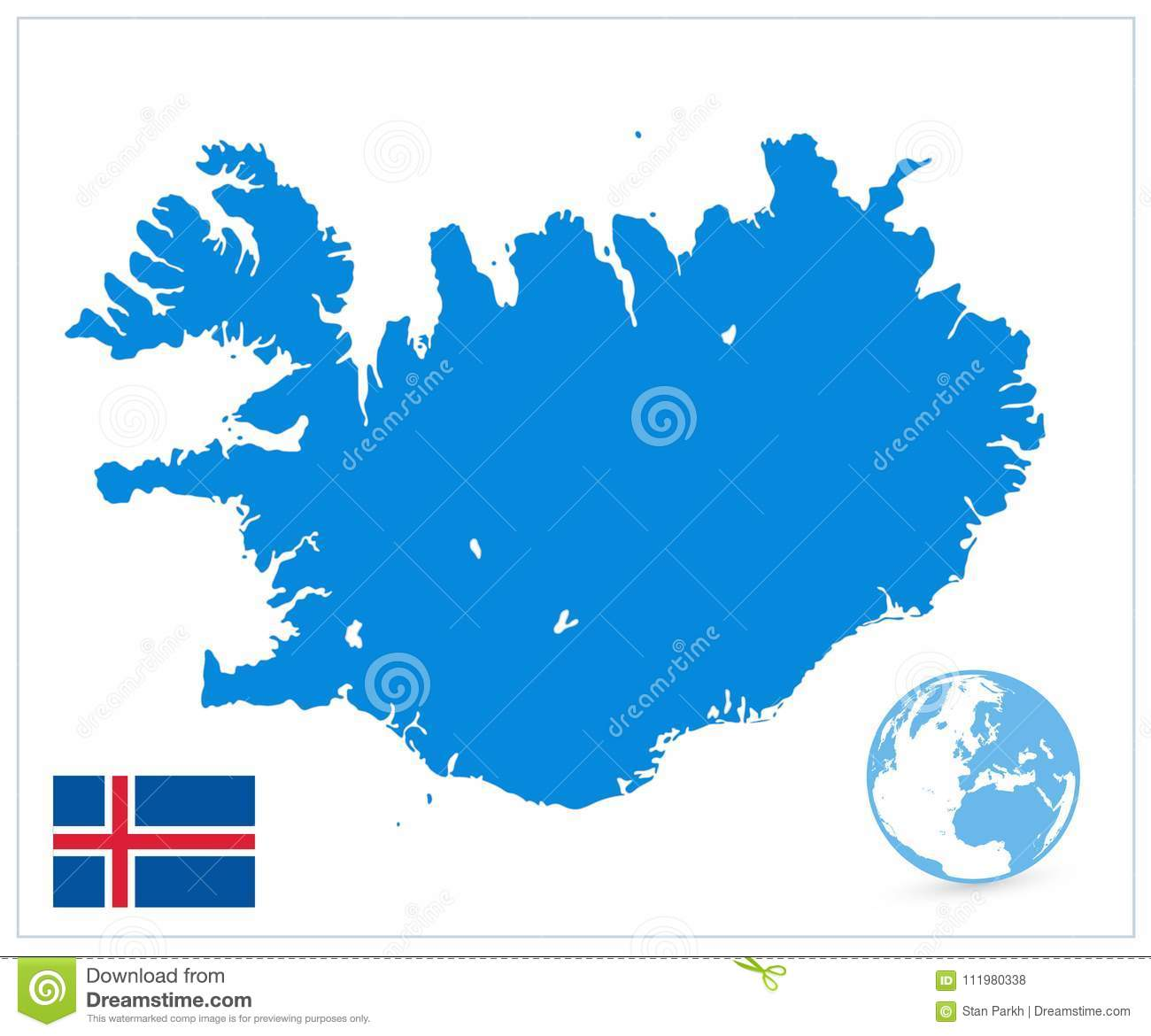 Iceland Map Isolated On White. No Text Stock Vector - Illustration ...