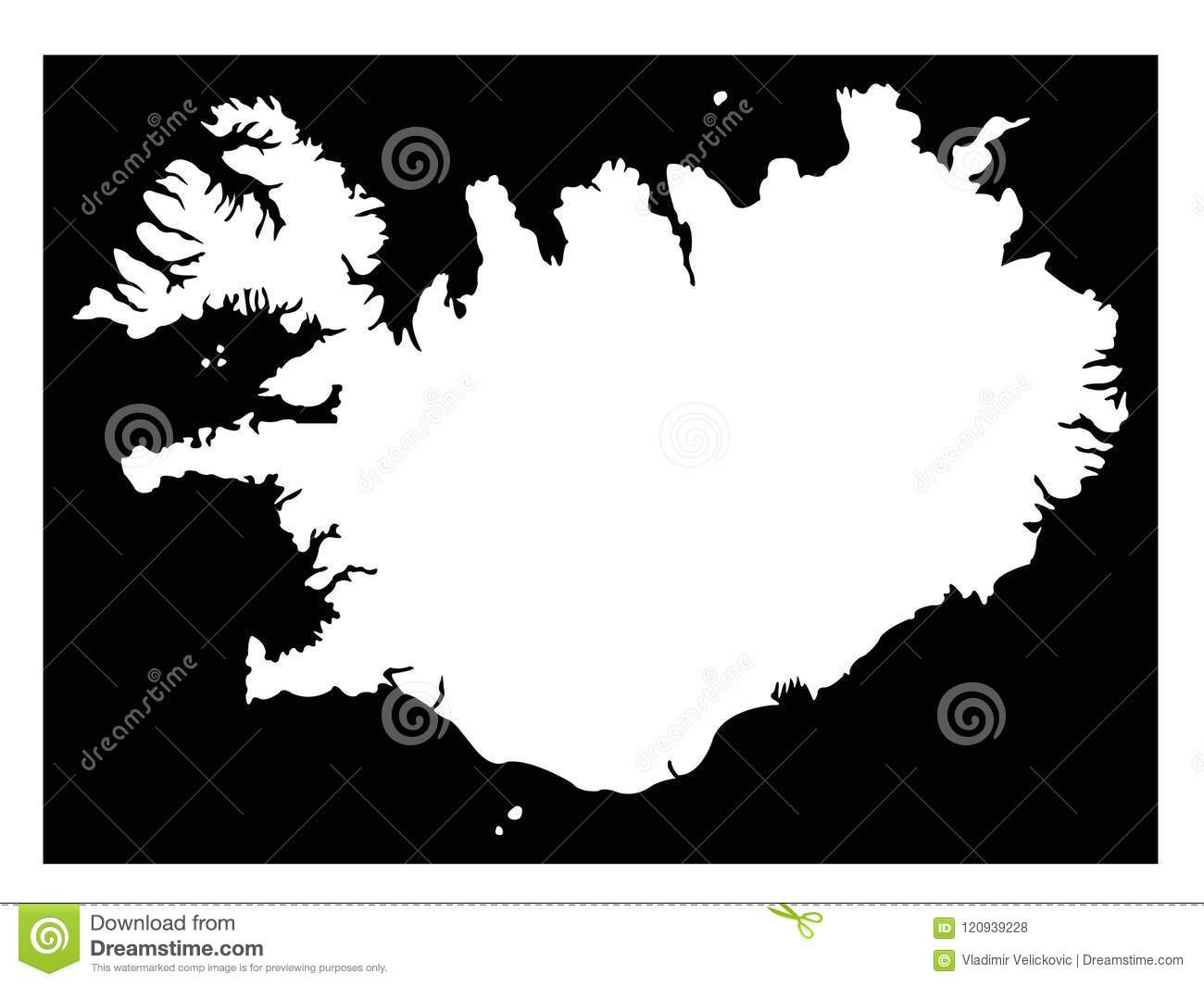Iceland Map - Nordic Island Country In Europe Stock Vector ...