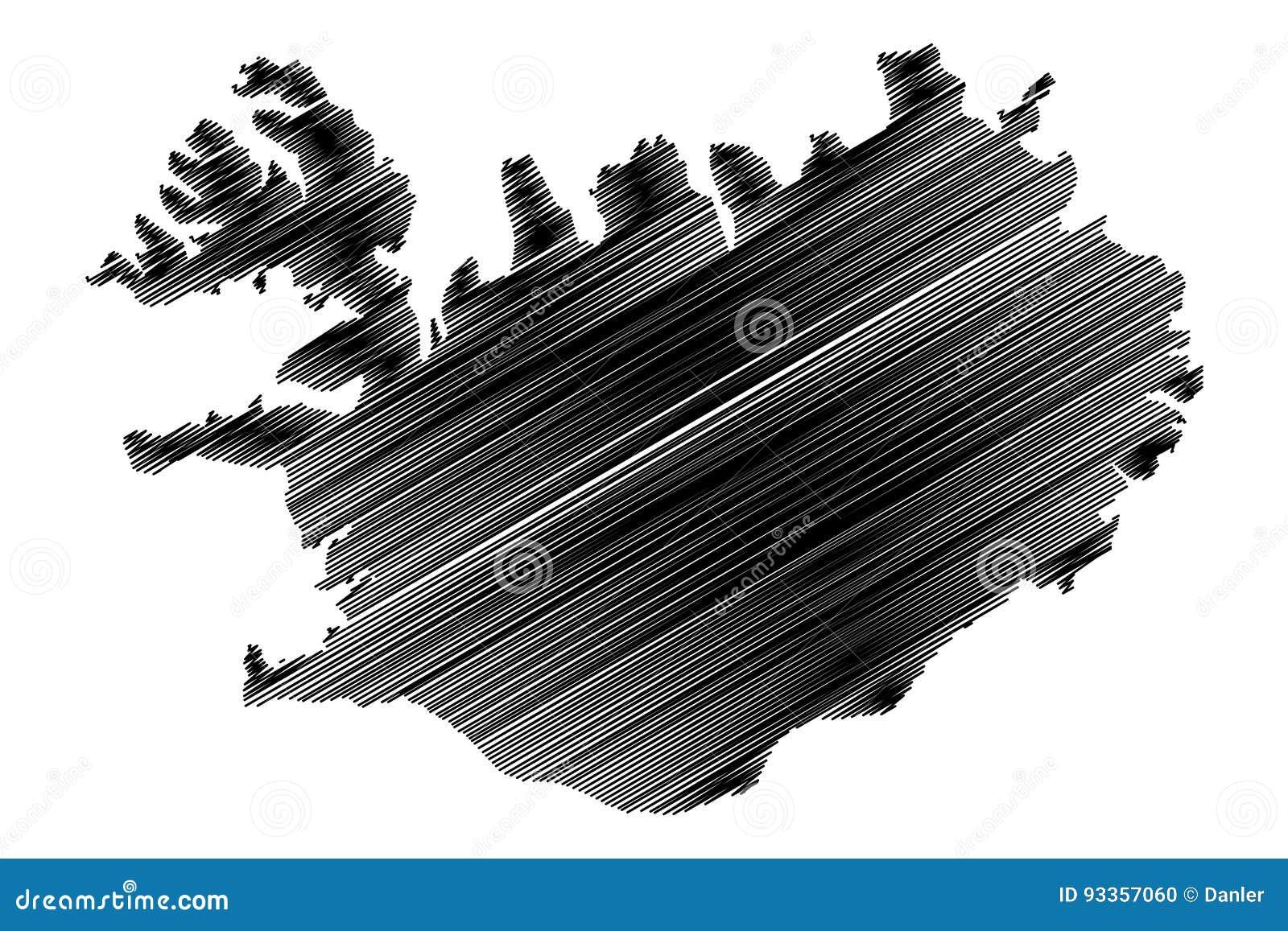 Iceland map vector stock vector. Illustration of ocean - 93357060