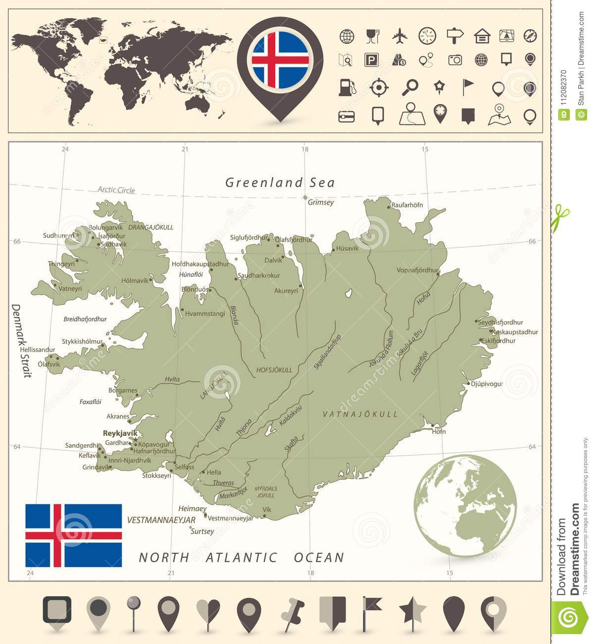 Iceland Map And World Map With Navigation Icons Stock Vector ...