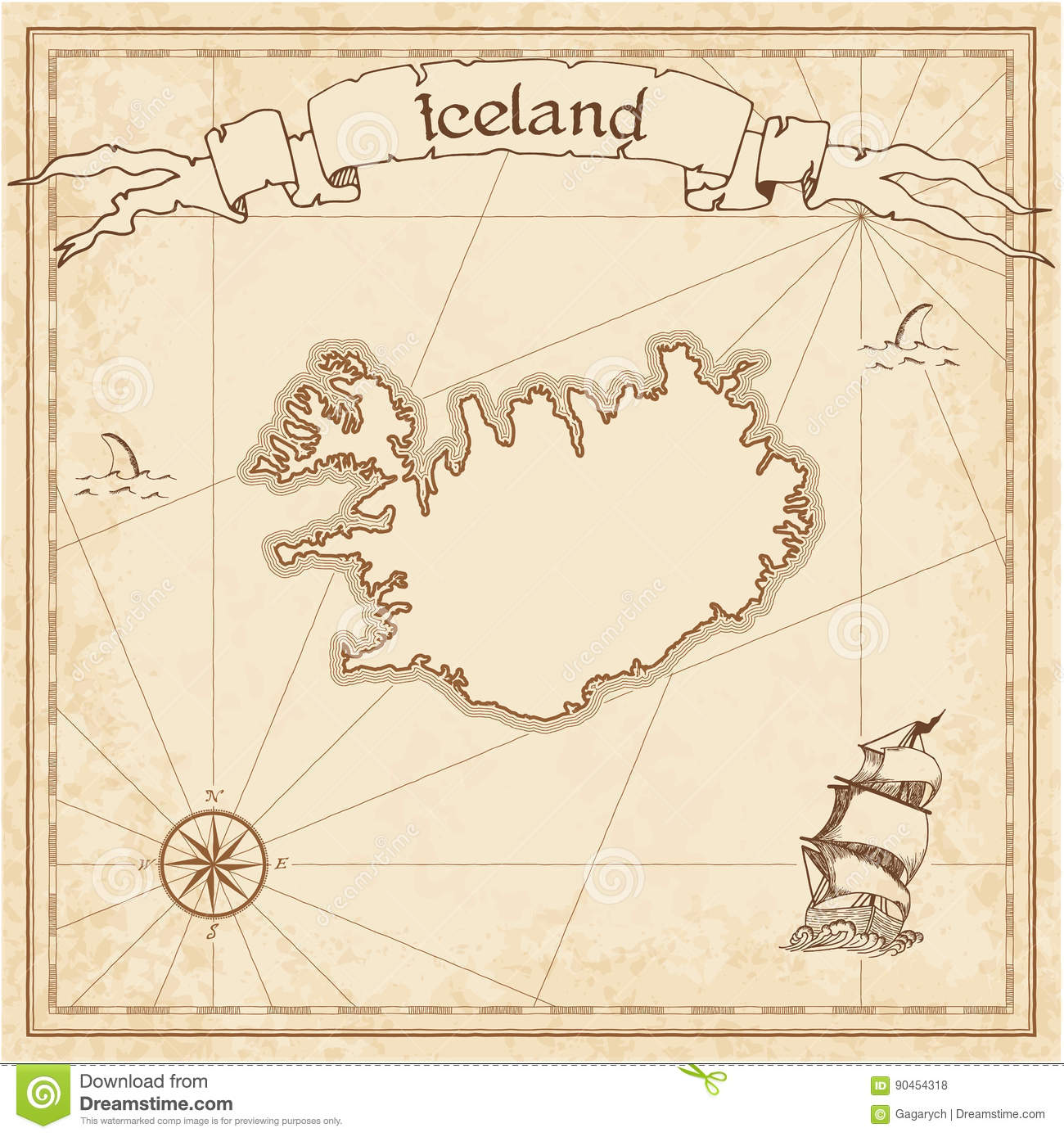 Download Iceland Old Treasure Map Stock Vector Illustration Of Drawing