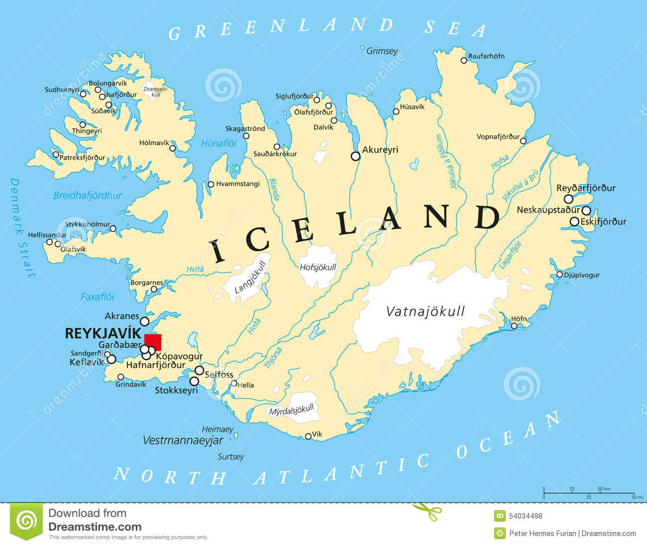 Reykjavik Iceland Map Iceland Political Map stock vector. Illustration of kopavogur