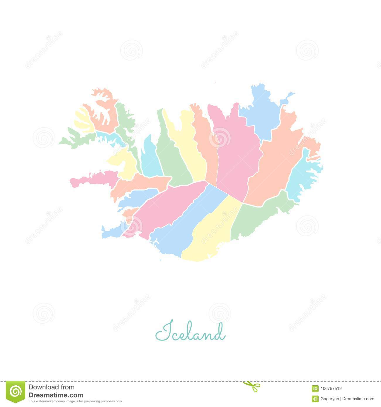 Iceland Region Map: Colorful With White Outline. Stock Vector ... on burma map outline, south pacific islands map outline, norfolk island map outline, poland map outline, german states map outline, cape town south africa map outline, benin map outline, slovakia map outline, greenland map outline, cyprus map outline, the usa map outline, gambia map outline, macau map outline, st croix map outline, mauritania map outline, bangladesh map outline, holy roman empire map outline, far east map outline, russia map outline, aruba map outline,