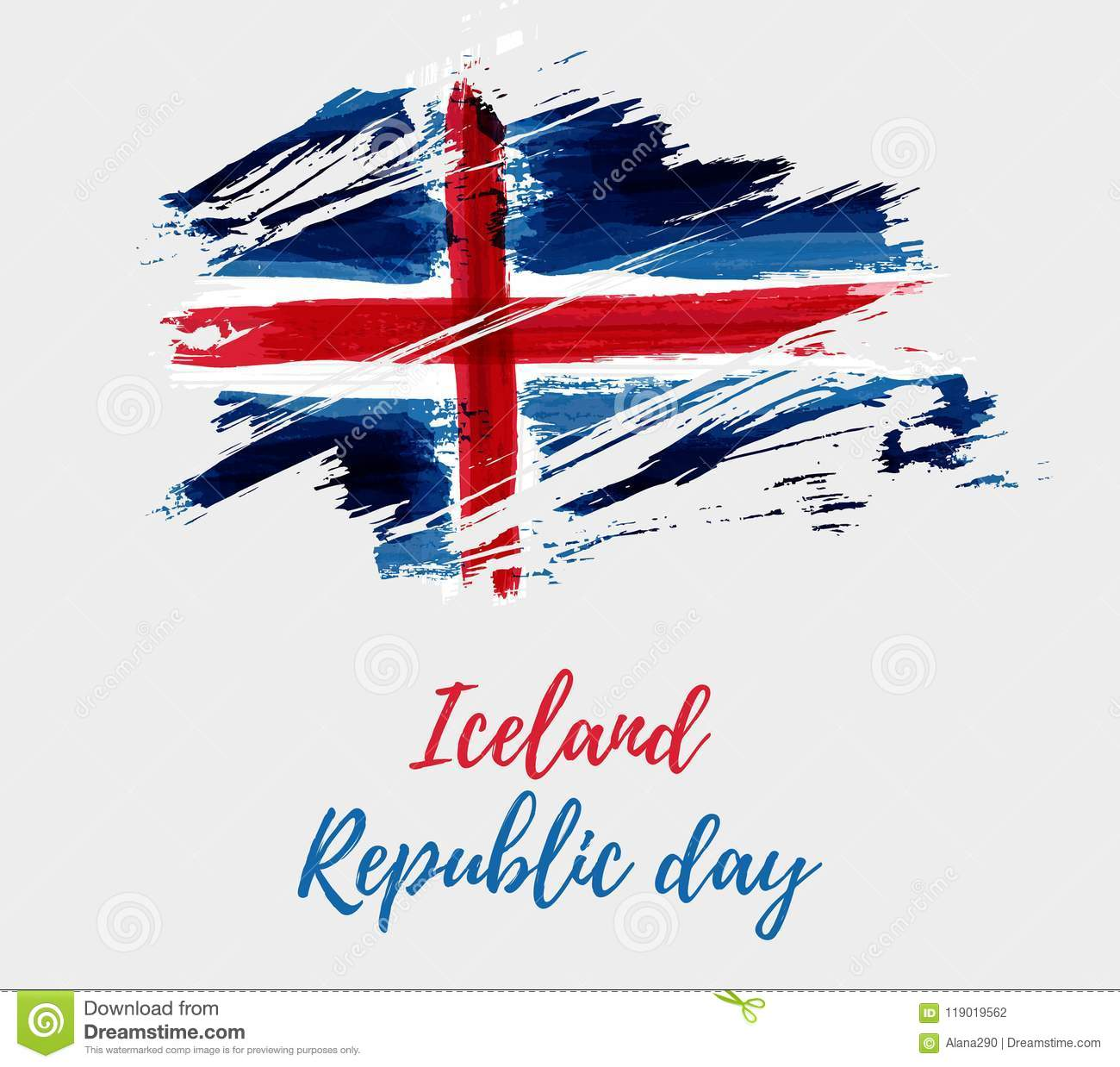 Iceland Republic Day Background Stock Vector - Illustration of brush ...