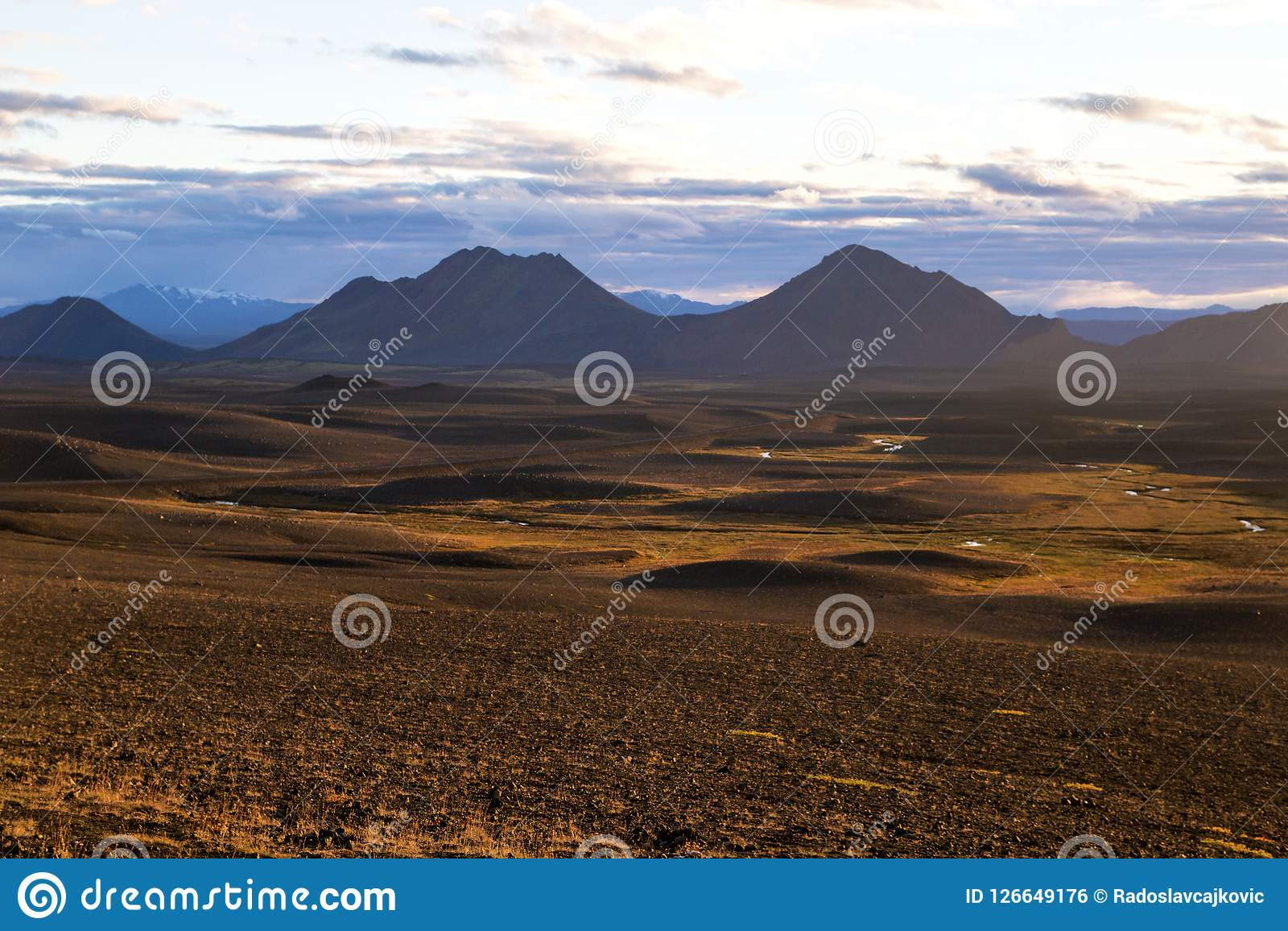 Iceland`s inland. Central Highlands of Iceland, red brown mountain landscape shaped by volcanic activity