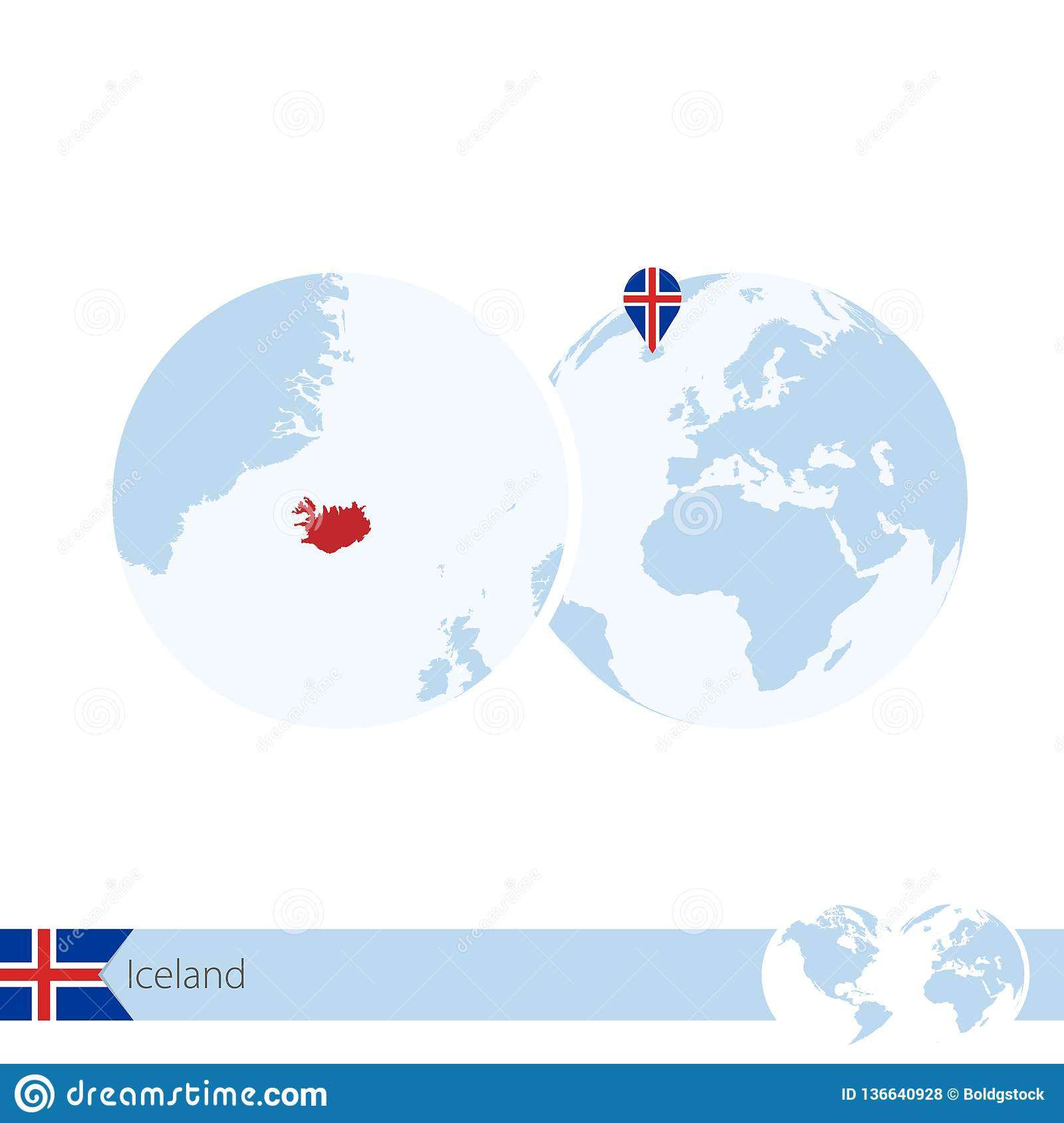 Iceland On World Globe With Flag And Regional Map Of Iceland Stock ...