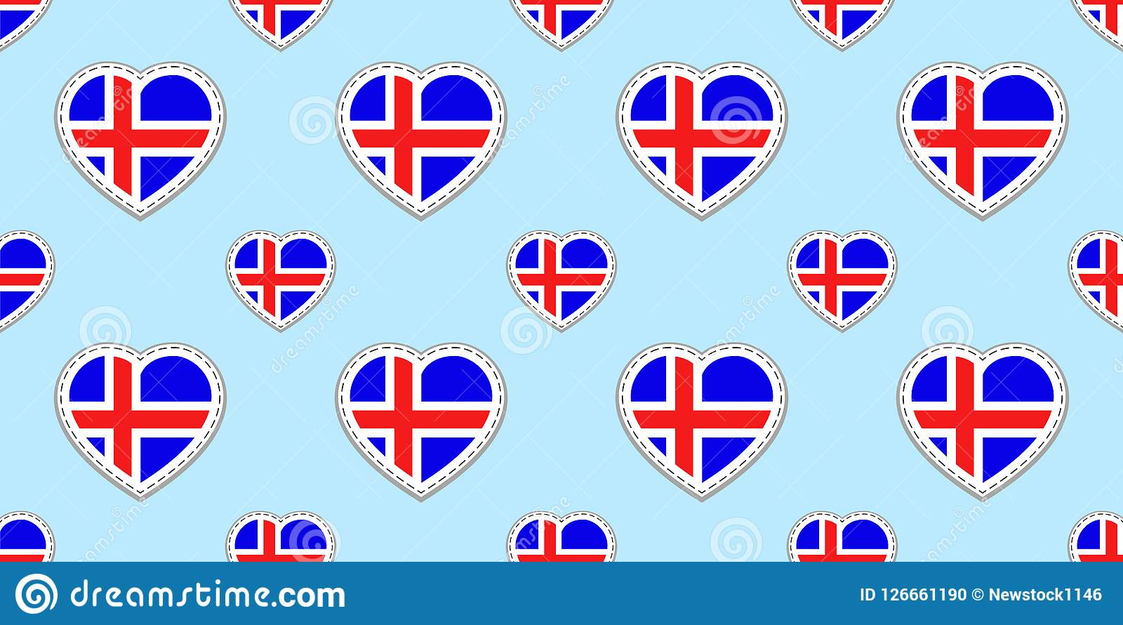 Icelandic background iceland flag seamless pattern vector stickers design love hearts symbols