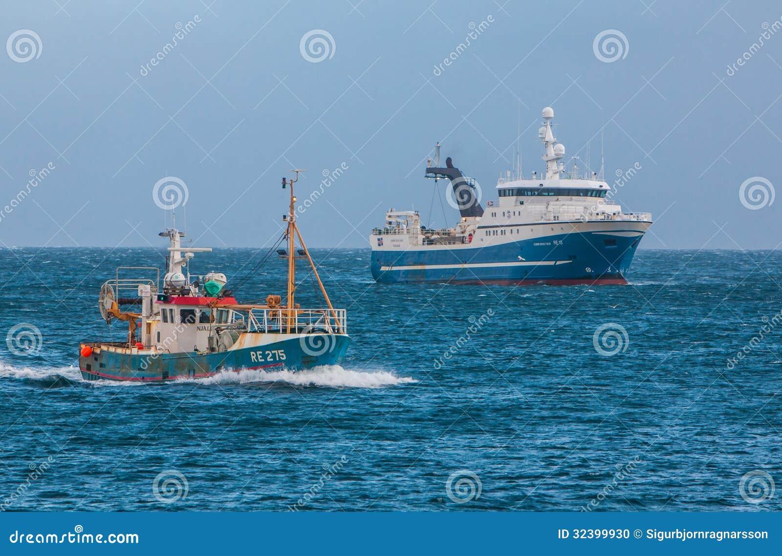 Icelandic fishing boats editorial image. Image of ominous ...