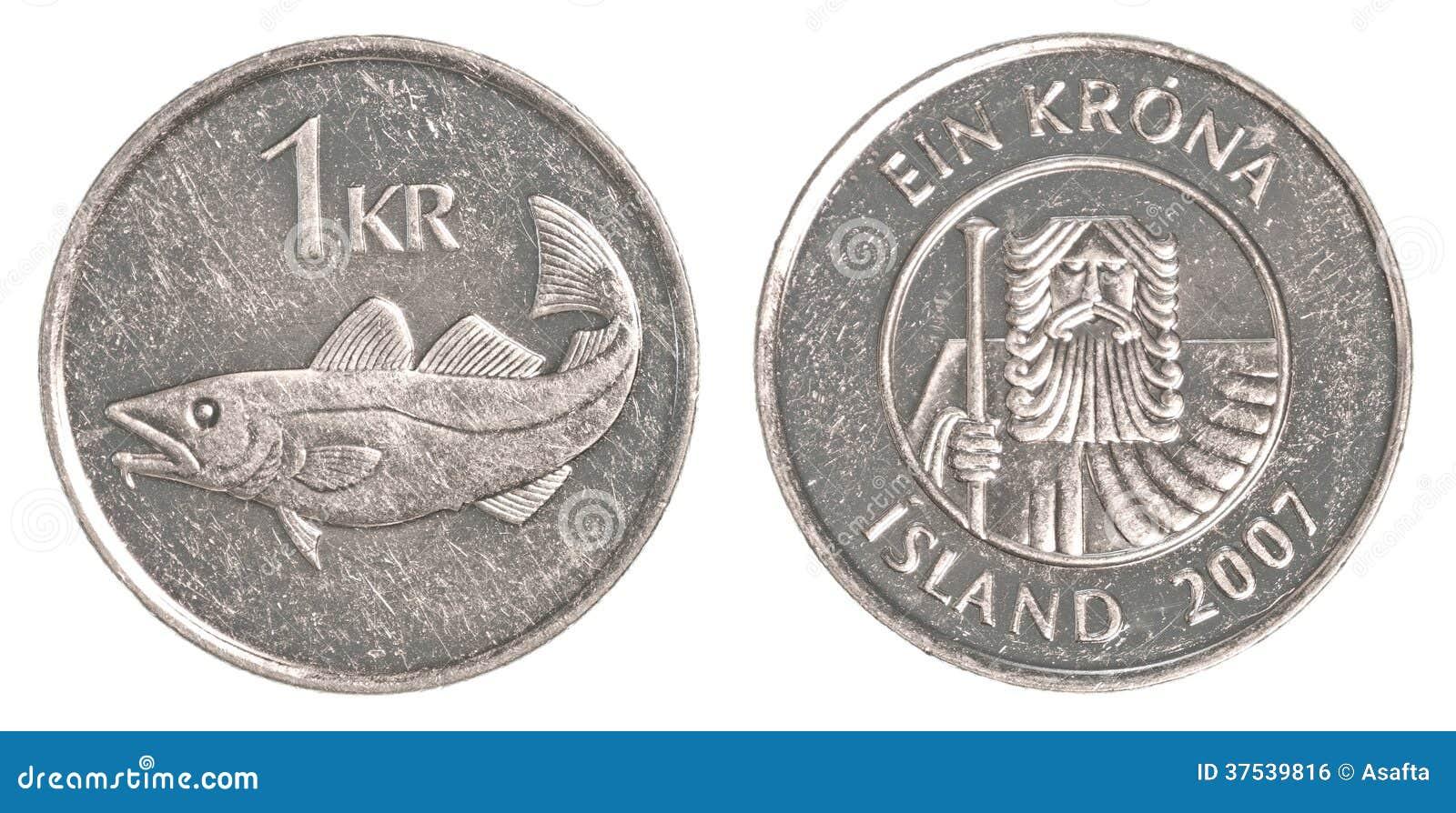 1 Icelandic Krona Coin Stock Photo 37539816 Megapixl