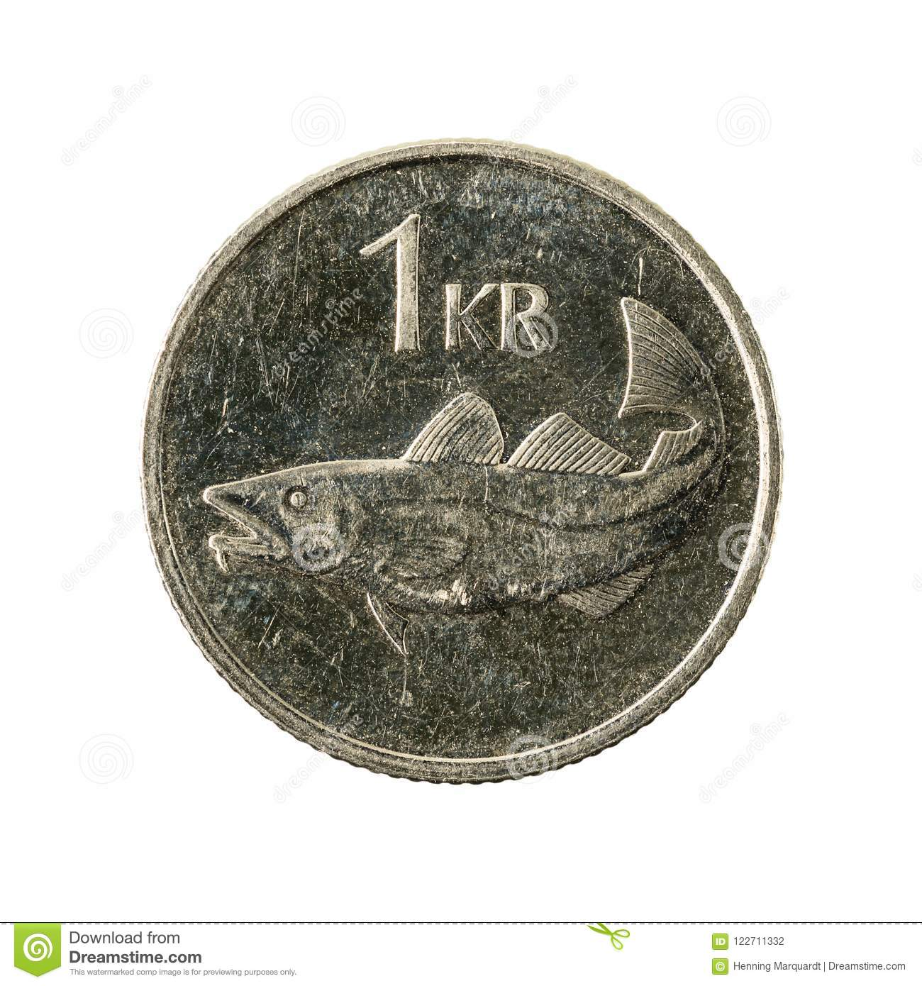 1 Icelandic Krona Coin 2007 Obverse Stock Photo Image Of Business