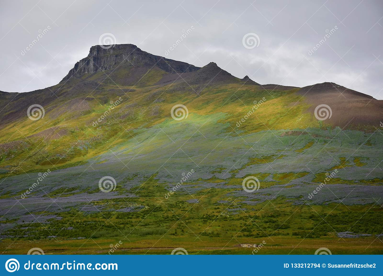 Icelandic landscape. The mountain Spakonufell near the town of Skagaströnd
