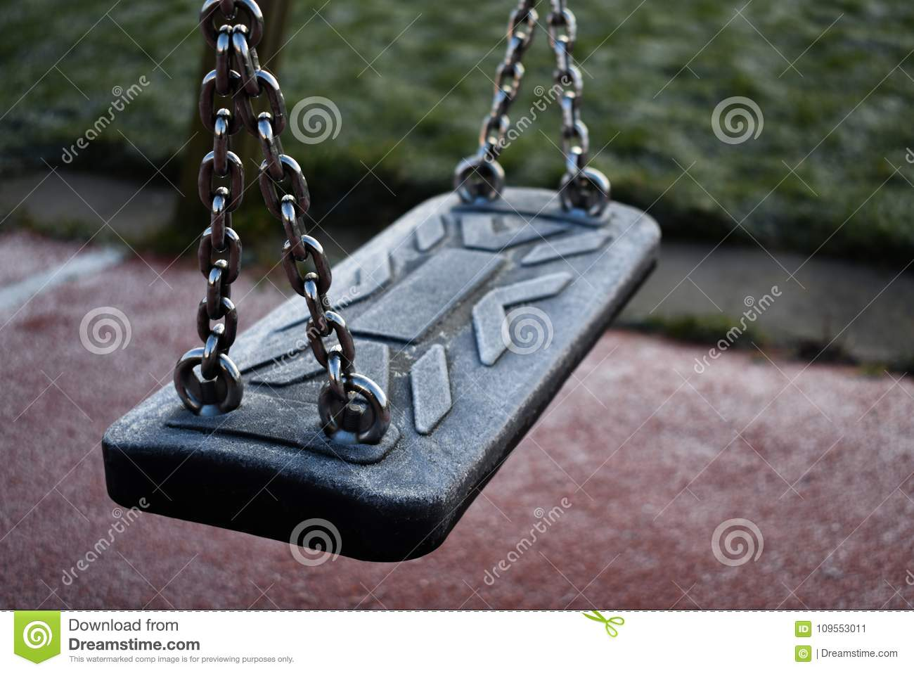 Icey Empty Swing In A Playground Stock Image Image Of Seesaw Background 109553011