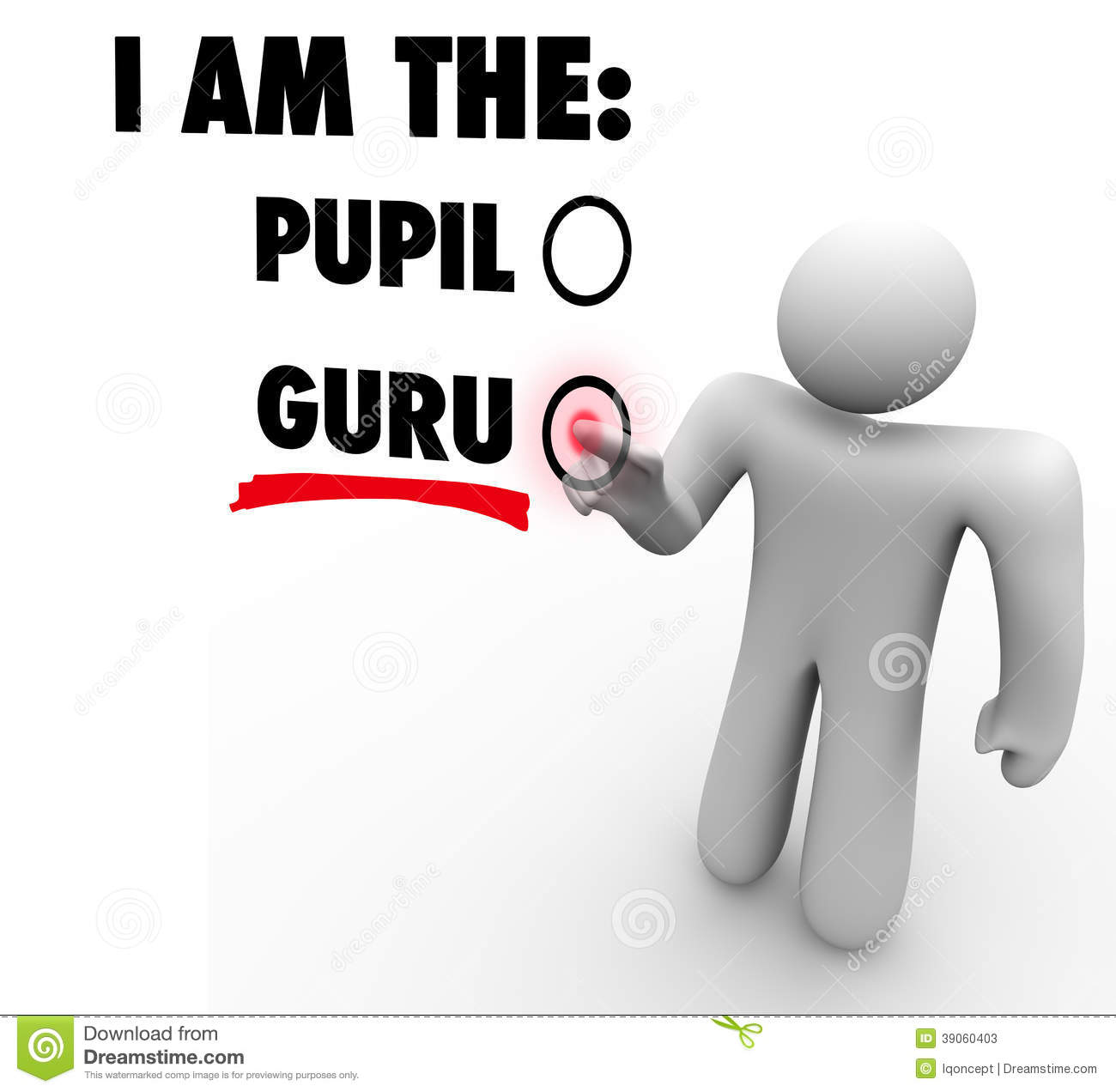 Ich bin Guru Person Choose Expert Teacher Guide