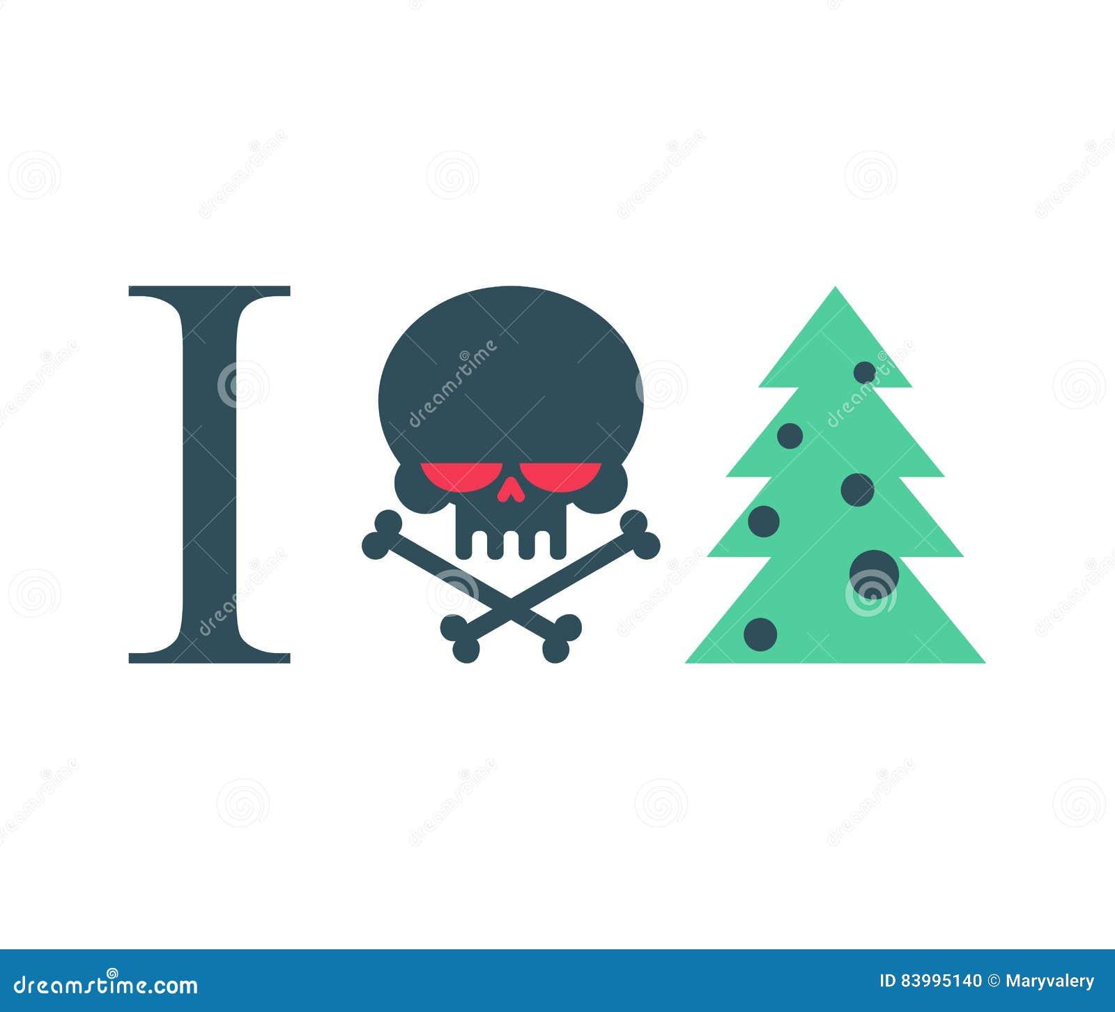 Ich Hasse Neues Jahr Weihnachtsbaum Und Schädel Vektor Abbildung ...