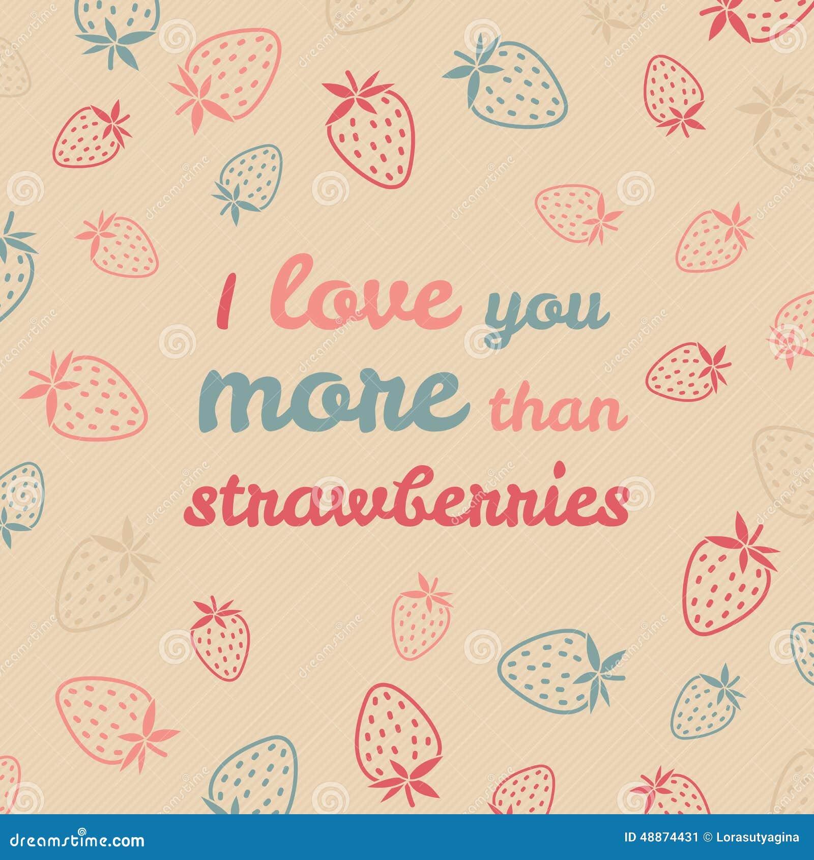 Ich Liebe Dich Mehr Als Erdbeer Typografie Lustige Valentinstag Liebes Karte