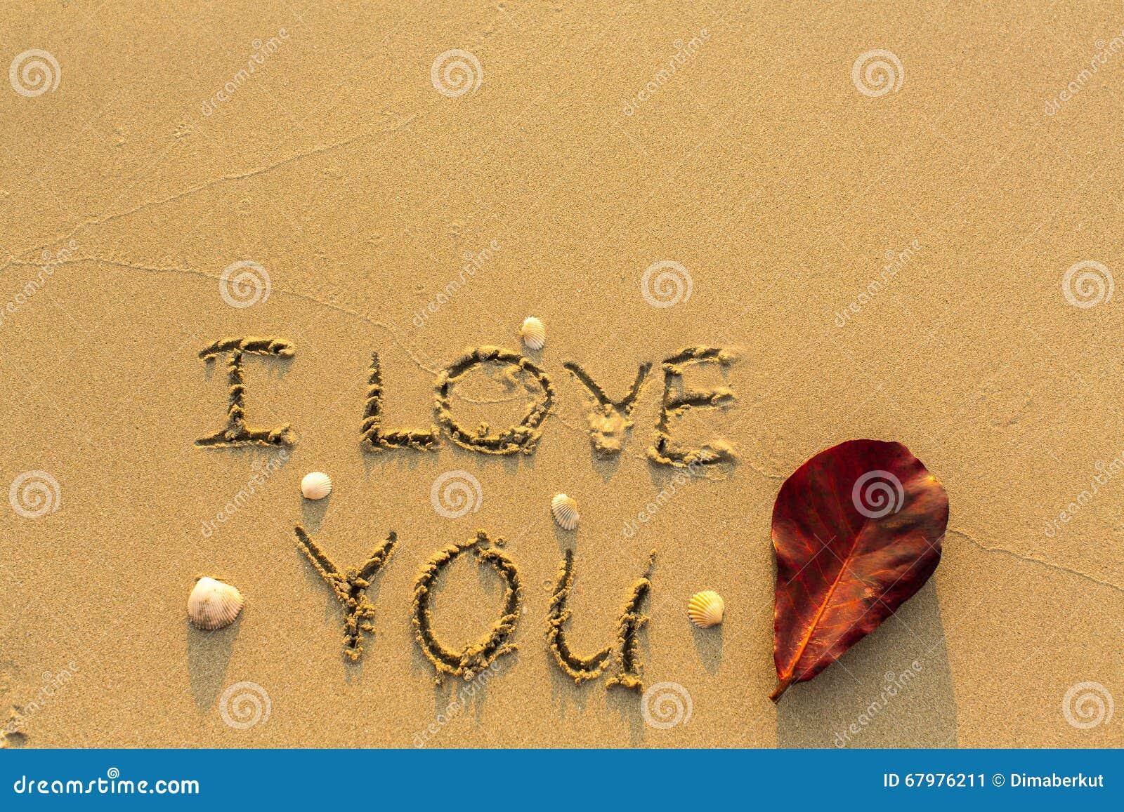 Ich Liebe Dich - Text Geschrieben Auf Sandigen Strand
