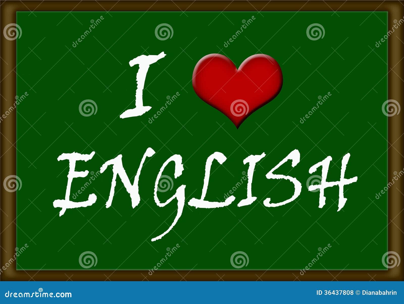 Ich liebe Englisch stock abbildung. Illustration von