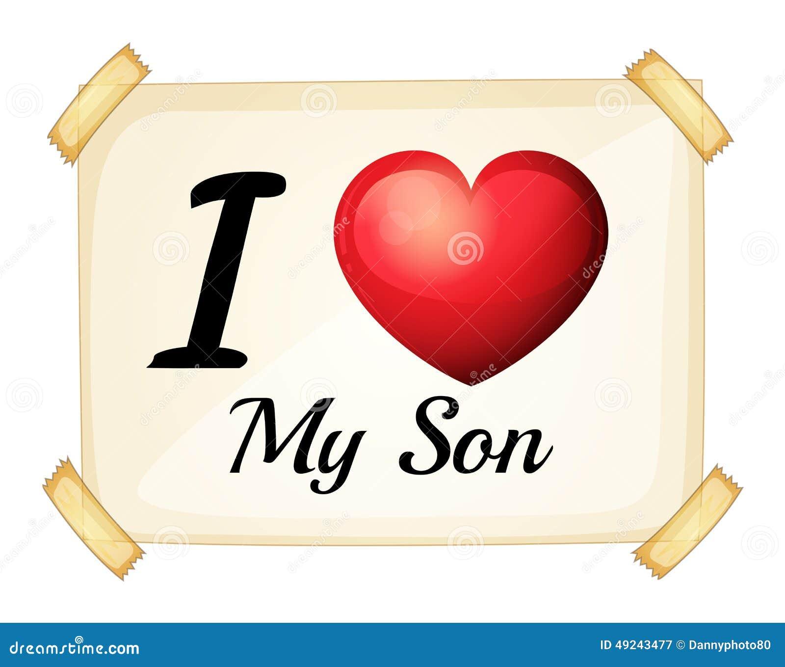 Ich liebe meinen Sohn vektor abbildung. Illustration von