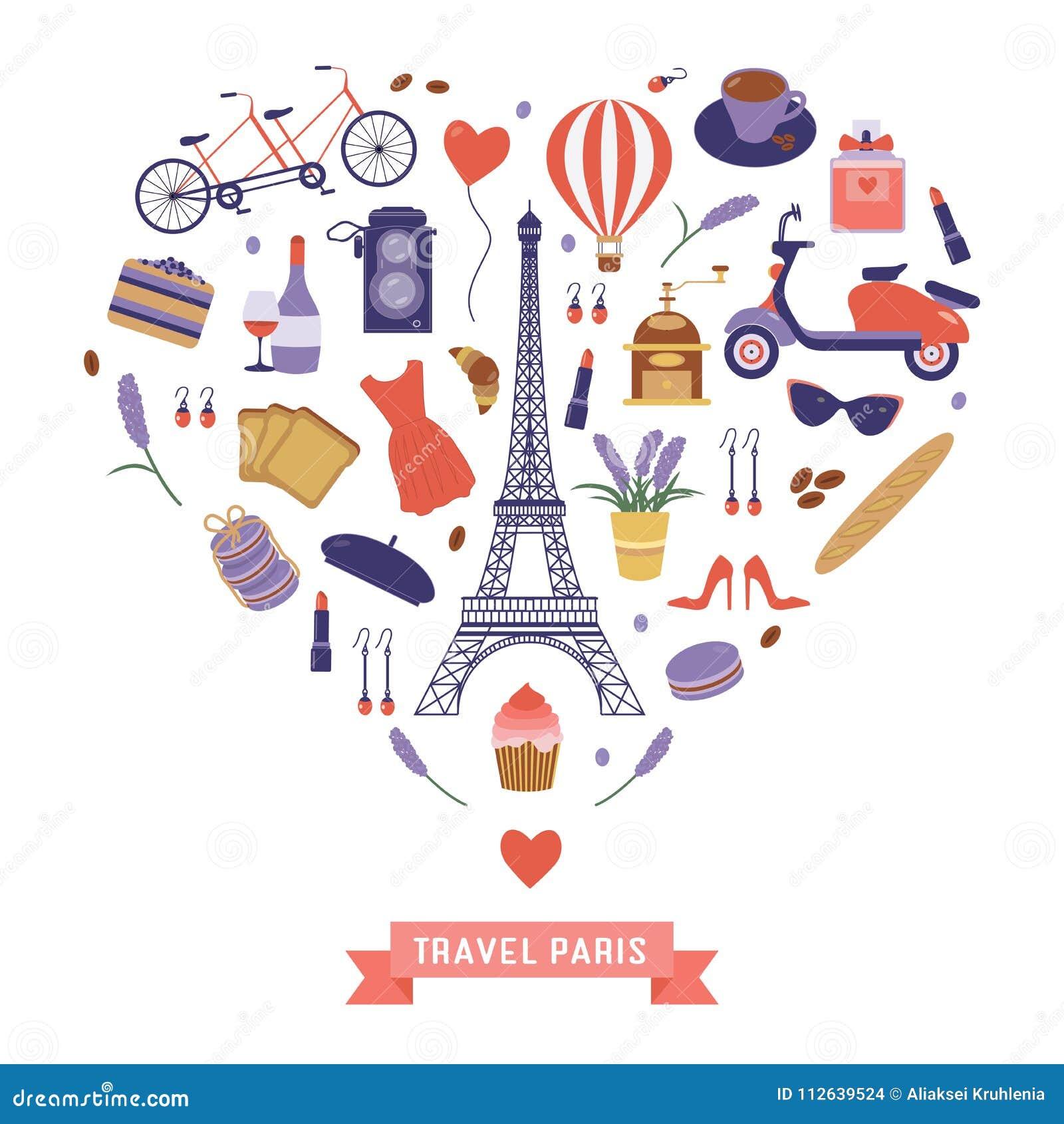 Ich Liebe Paris Karte Mit Franzose Reise Ikonen Vektor Abbildung Illustration Von Ikonen Reise 112639524