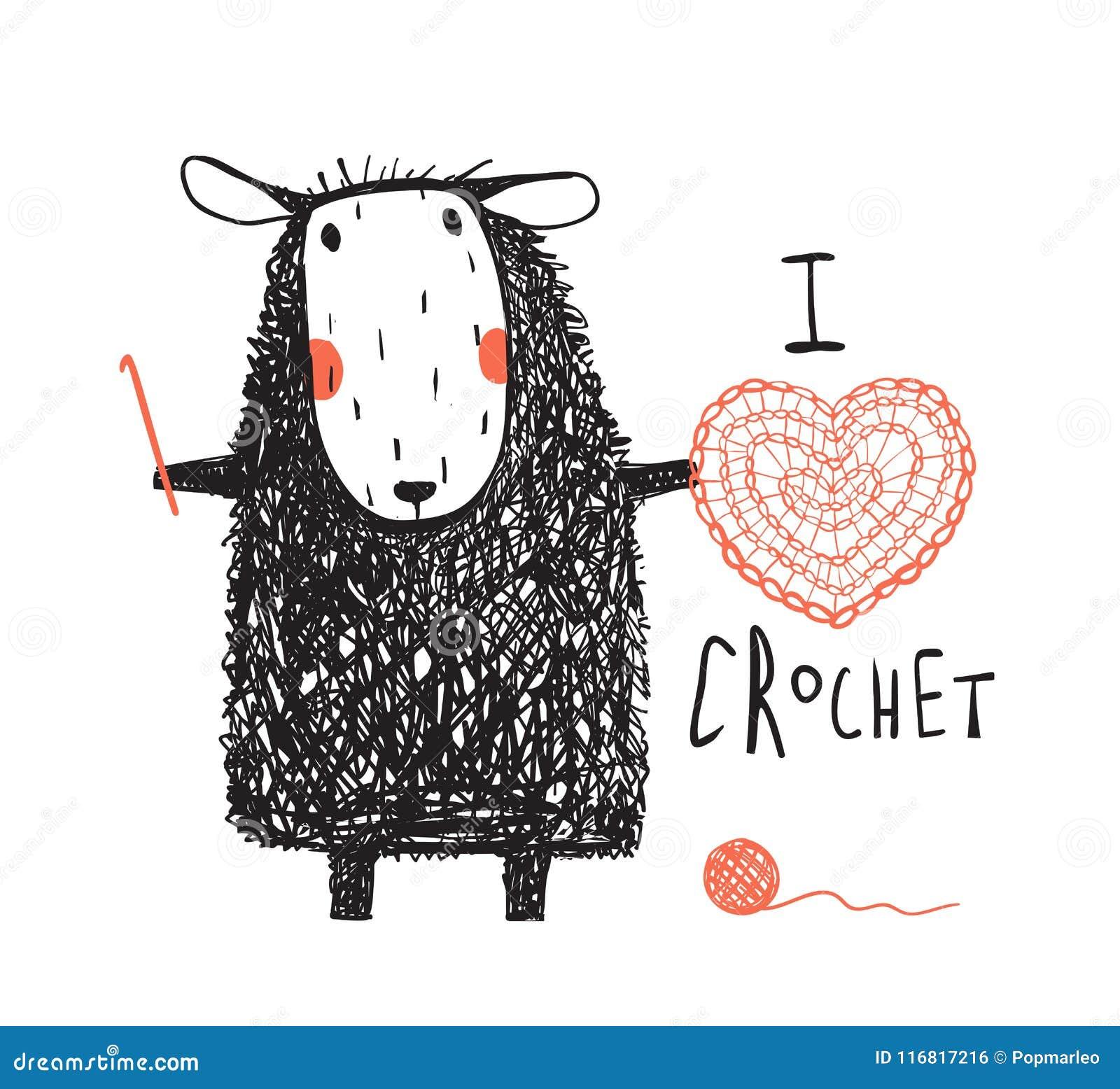 Ich Mag Gezeichnetes Design Der Schafe Häkeln Hand Vektor Abbildung
