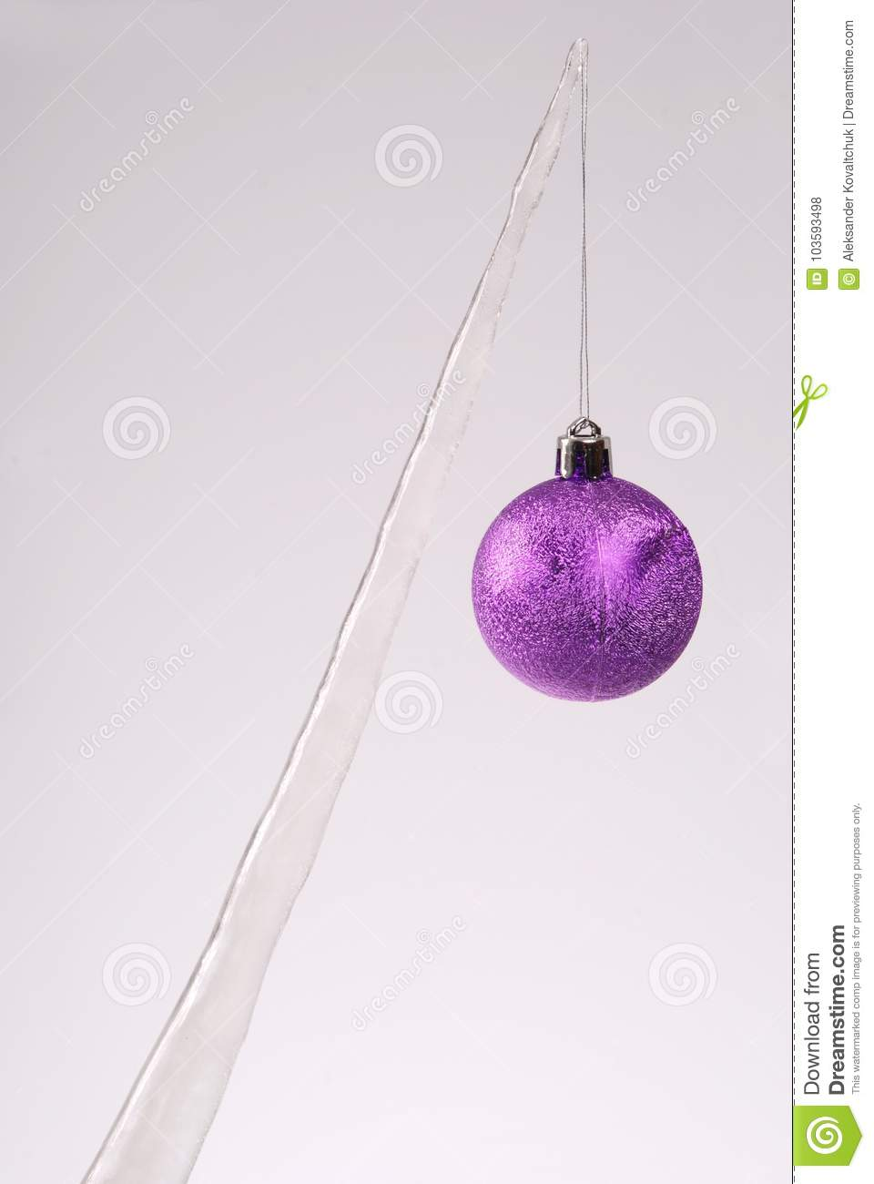 Icicle With A Christmas Tree Toy Stock Photo - Image of bright, melt ...