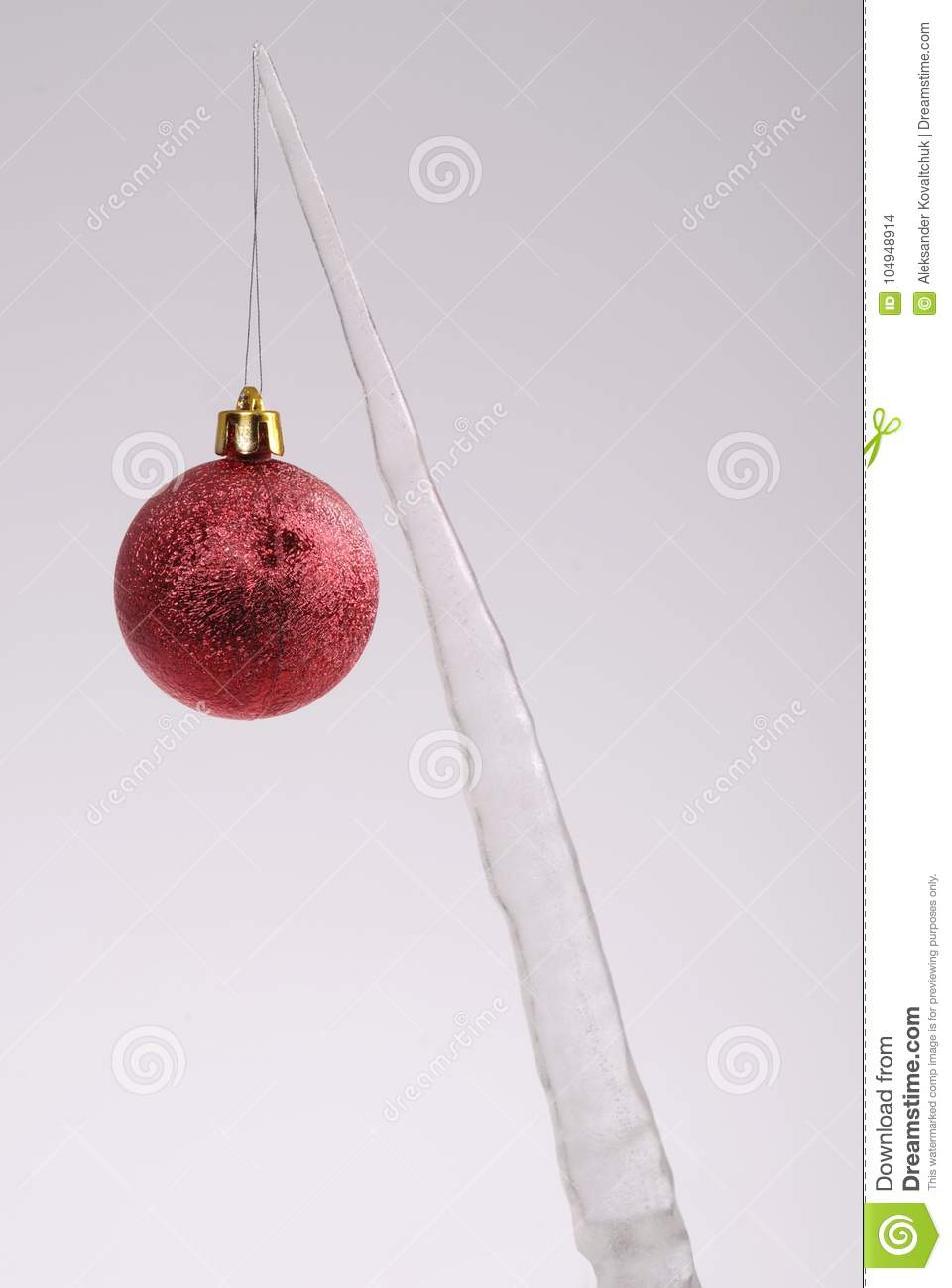 Icicle With A Christmas Tree Toy Stock Photo - Image of bright ...
