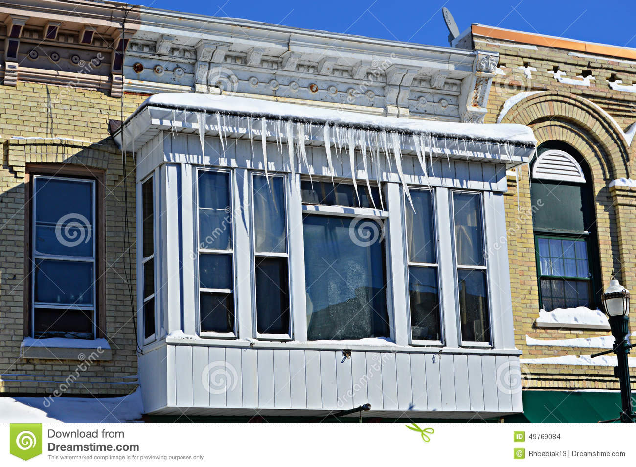 Icicles On Building Stock Photo Image 49769084