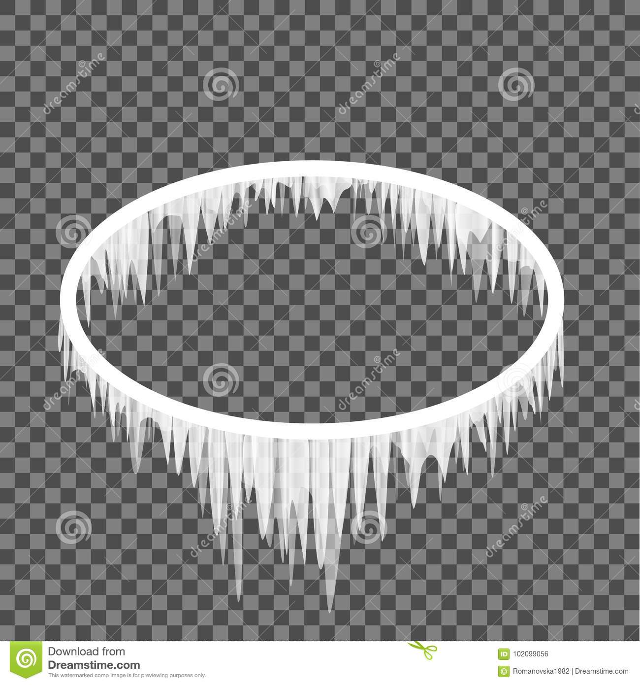 Icicles Hanging From An Oval Frame Stock Vector - Illustration of ...