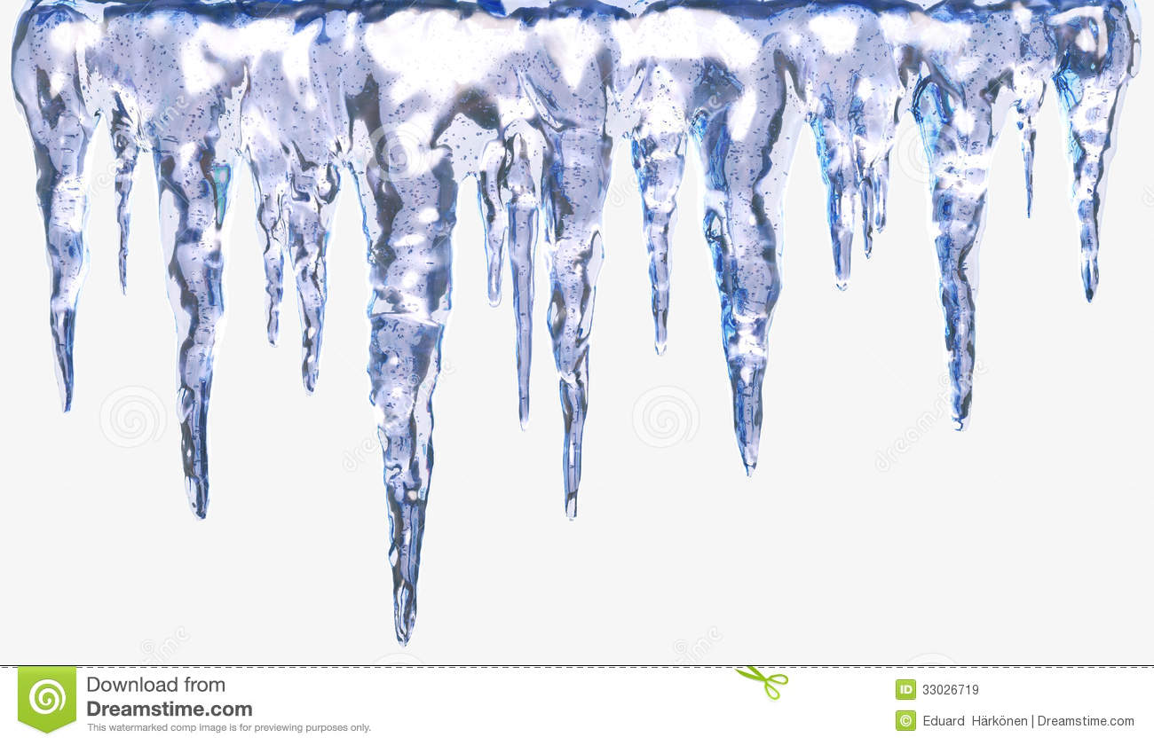 Icicles isolated with clipping path. Design element.