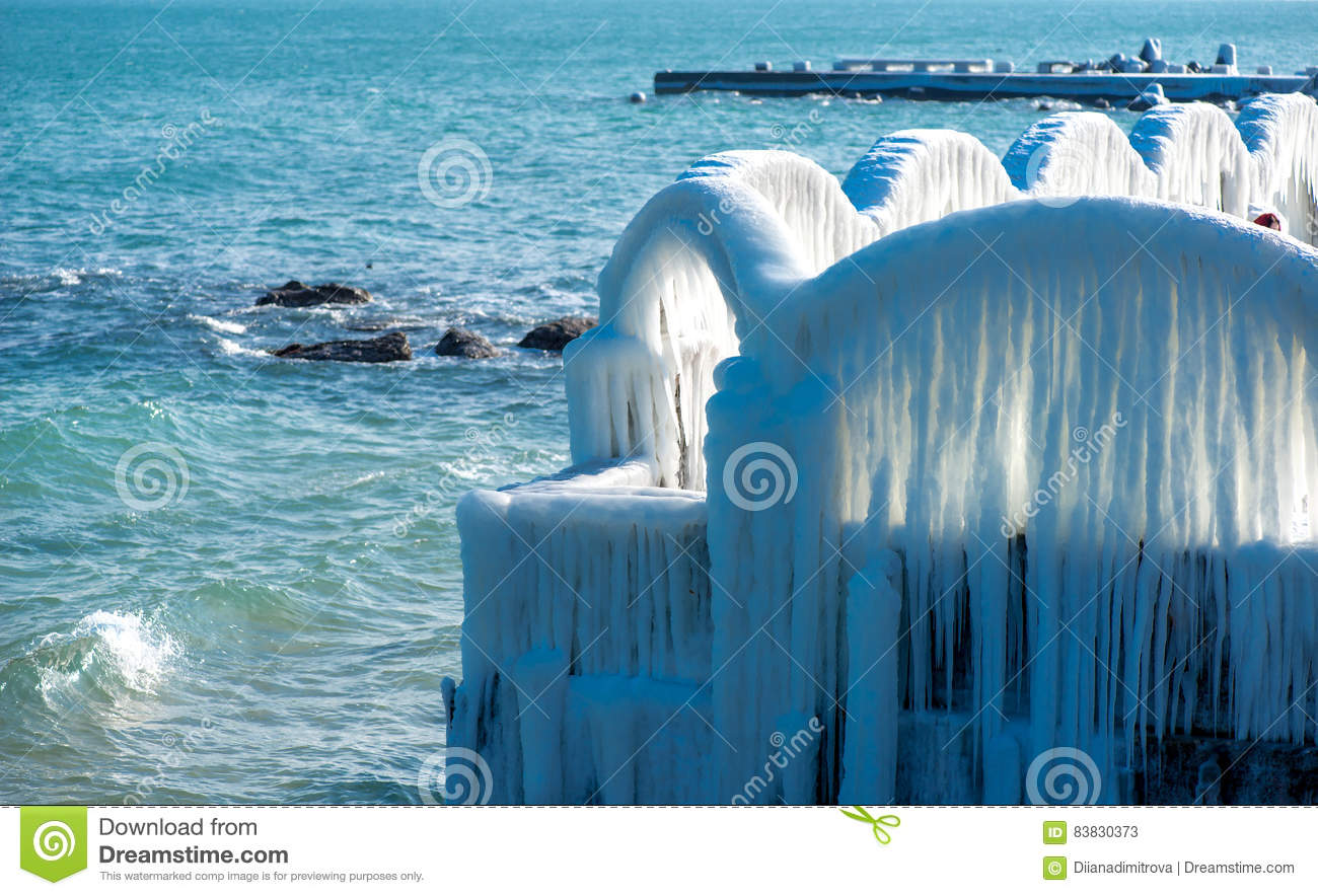 Icicles Over The Arches Of The Abandoned Swimming Pool By The Sea Stock Image Image Of Nature Climate 83830373