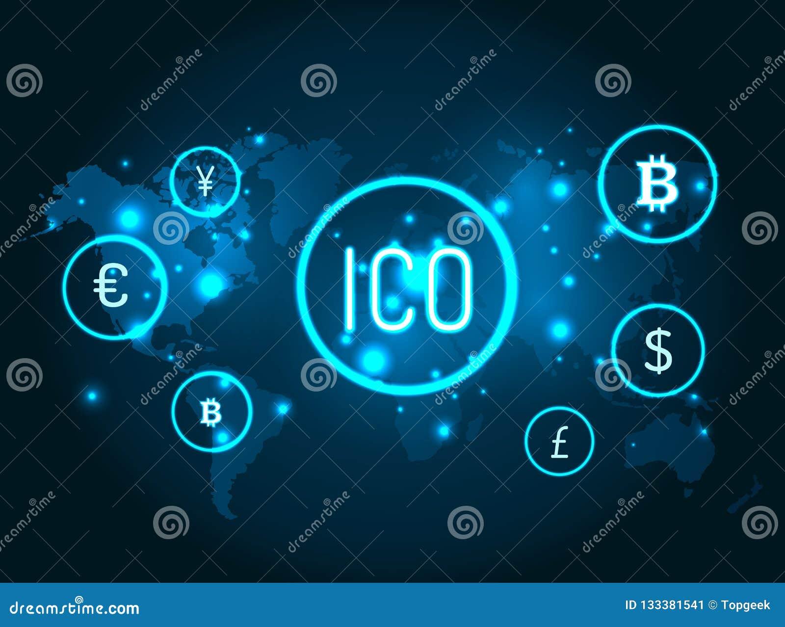 Ico e iconos de las monedas con vector del mapa del globo