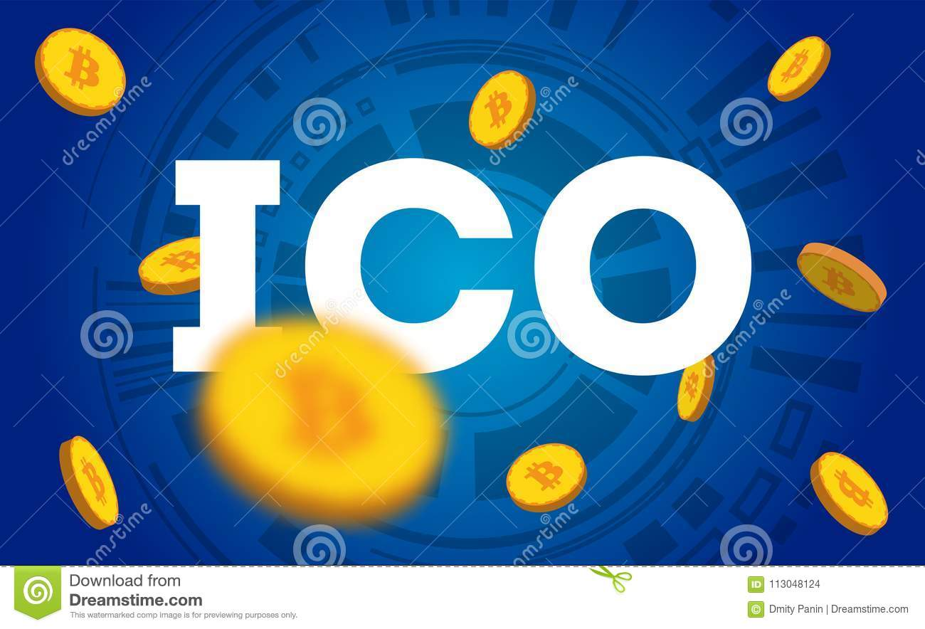 ICO - Initial Coin Offering  ICO Token Concept  Illustration For