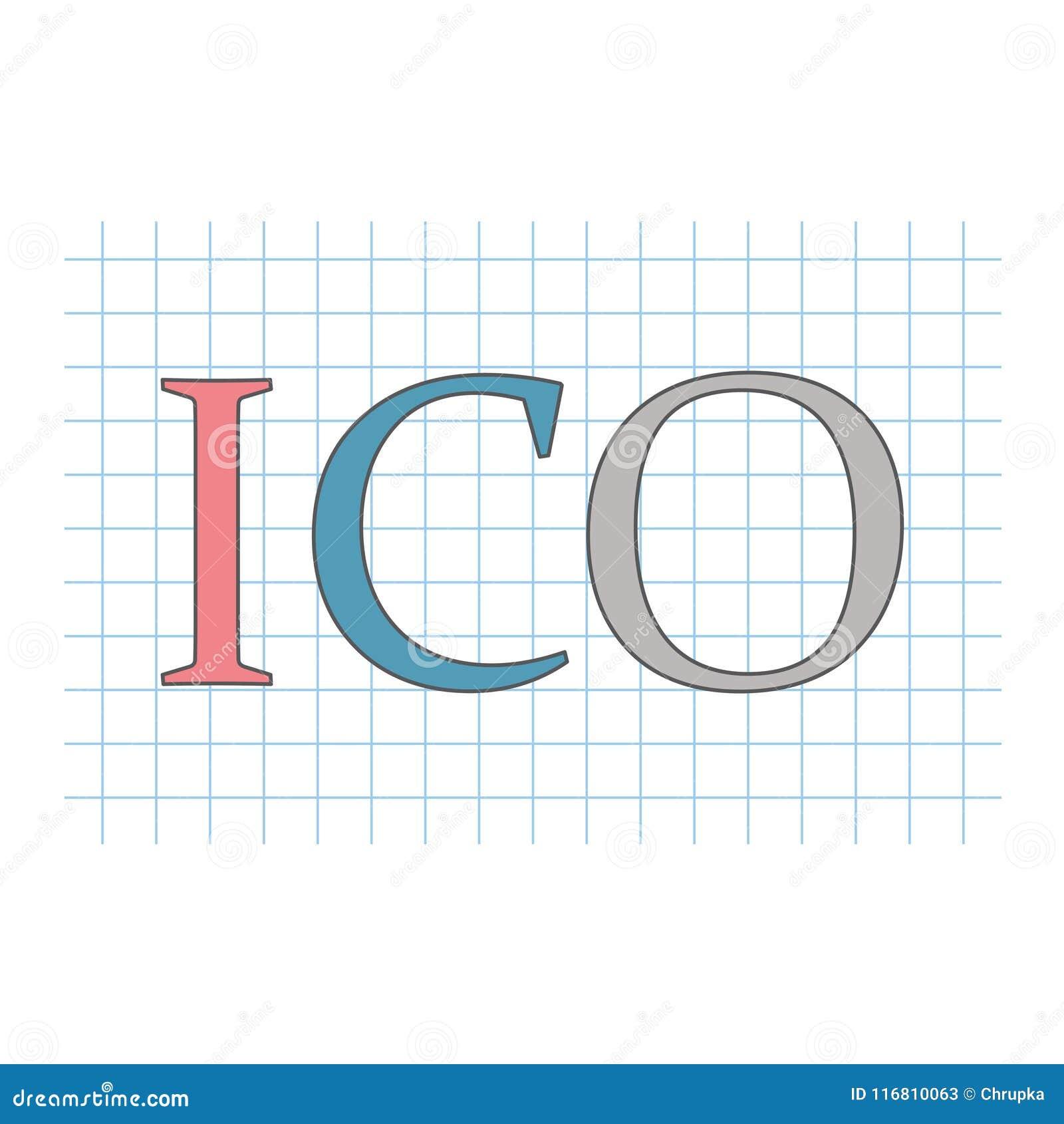 ICO siglano l acronimo d offerta della moneta sullo strato di carta a quadretti