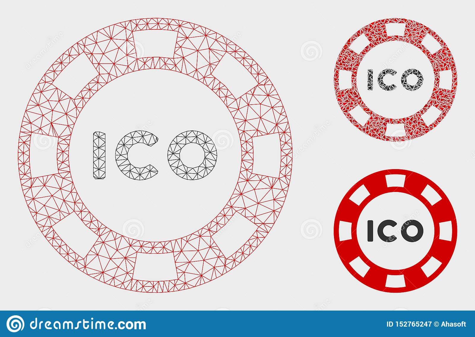 ICO Token Vector Mesh 2D Model And Triangle Mosaic Icon