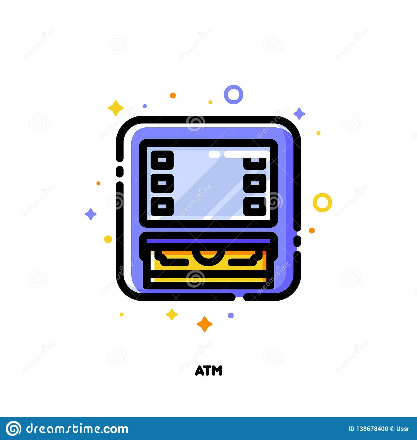 Icon Of ATM Machine For Banking Concept  Flat Filled Outline