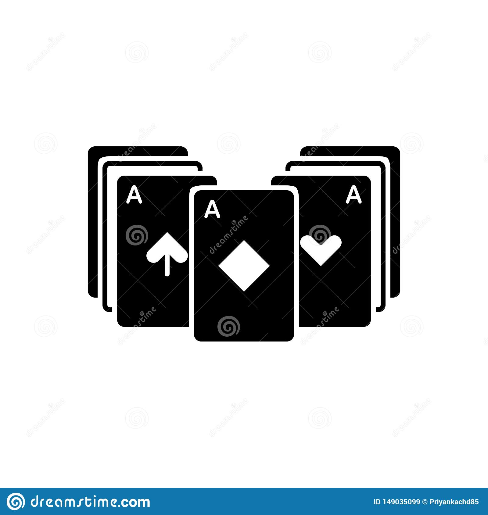 Black solid icon for Blackjack, cards and roulette