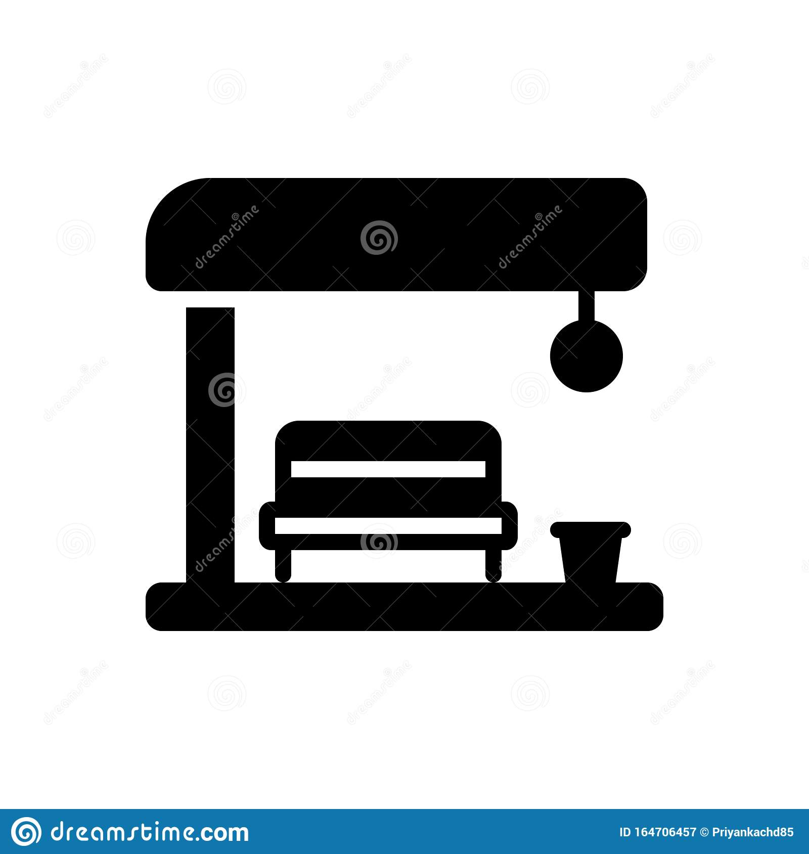 Black Solid Icon For Bus Stop Router And Arrival Stock Vector Illustration Of Transportation Traffic 164706457