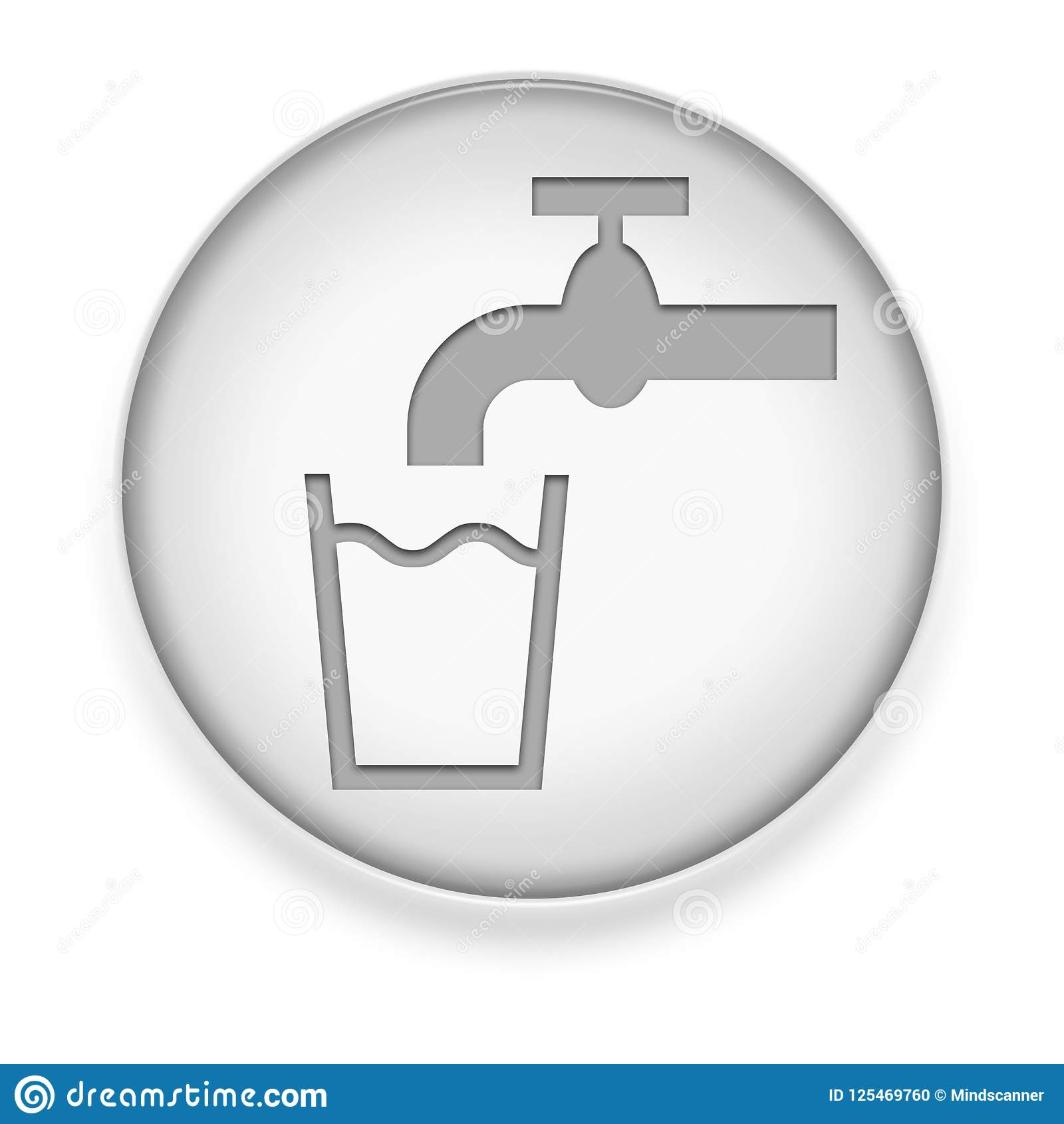 icon, button, pictogram with running water symbol