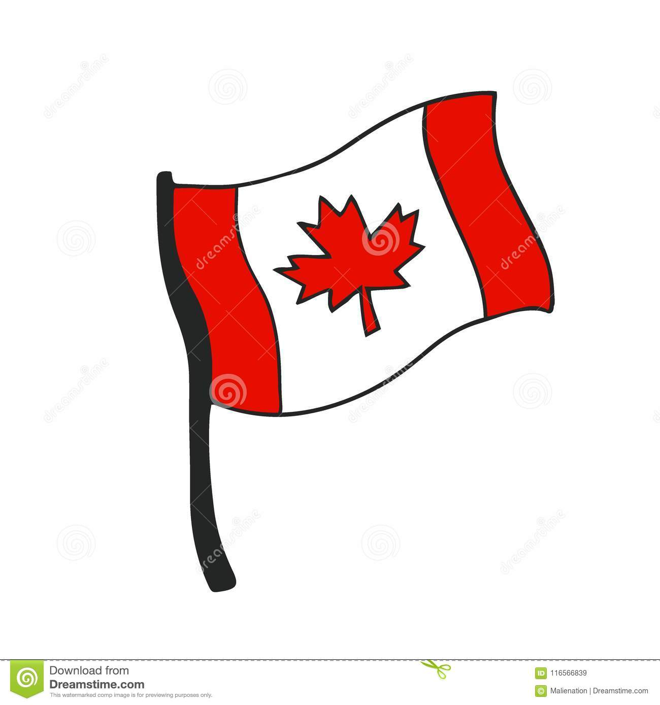 Icon Canada Flag Cartoon Vector Illustration Stock Vector