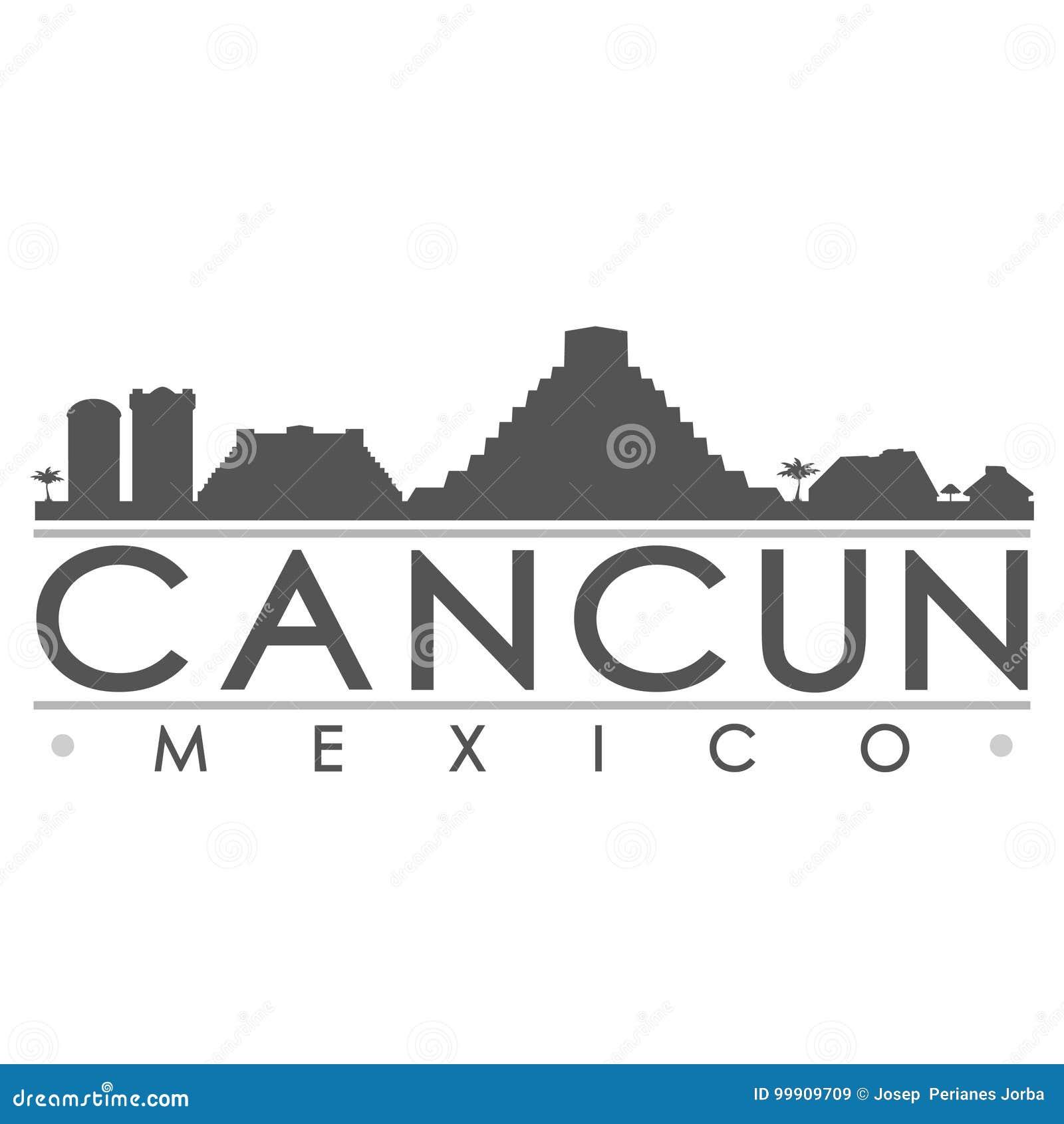 Cancun Silhouette Design City Vector Art Stock Vector Illustration