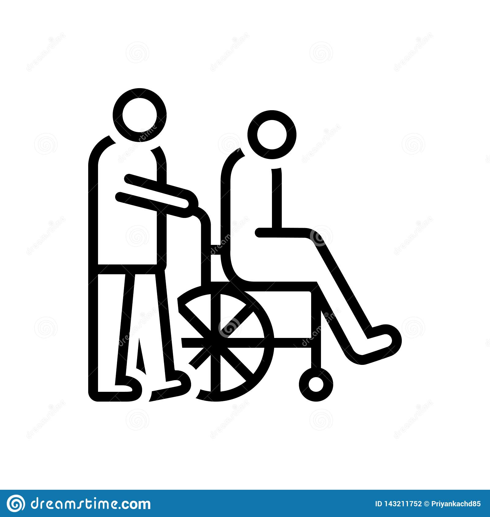 Black line icon for Caregivers, caretaker and wheelchair
