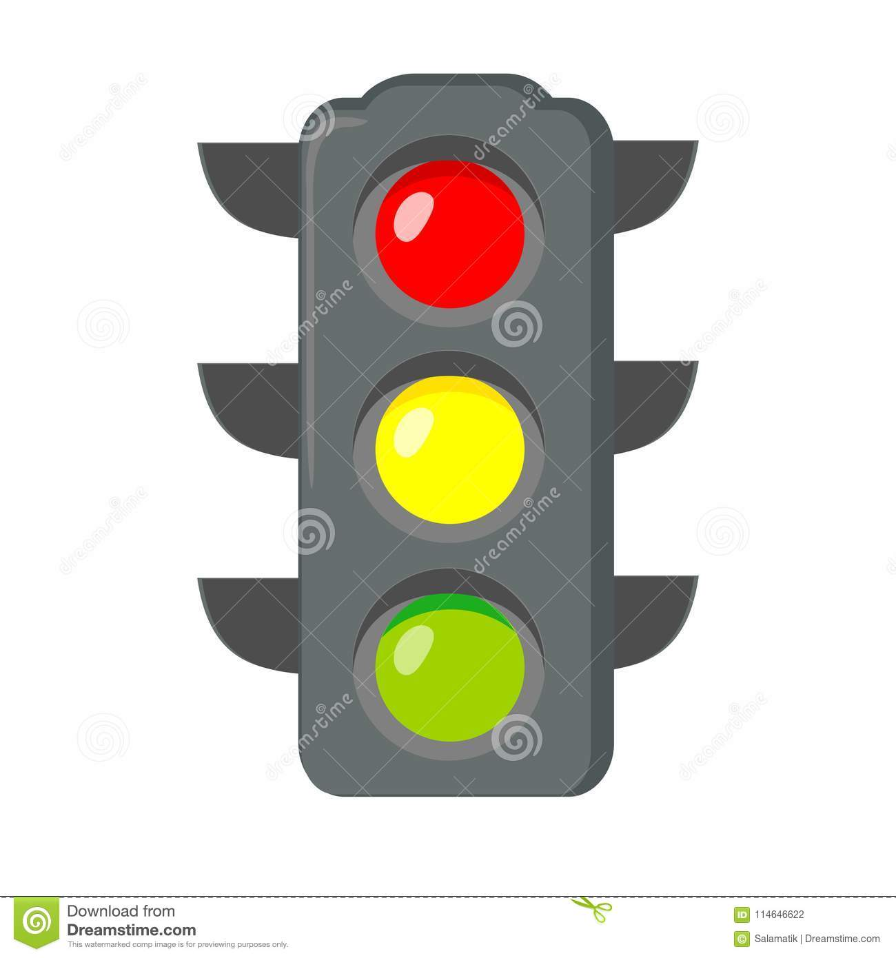 Icon Cartoon Traffic Light. Signals With Red Light Above Yellow And ... for Traffic Light Green Icon  181plt