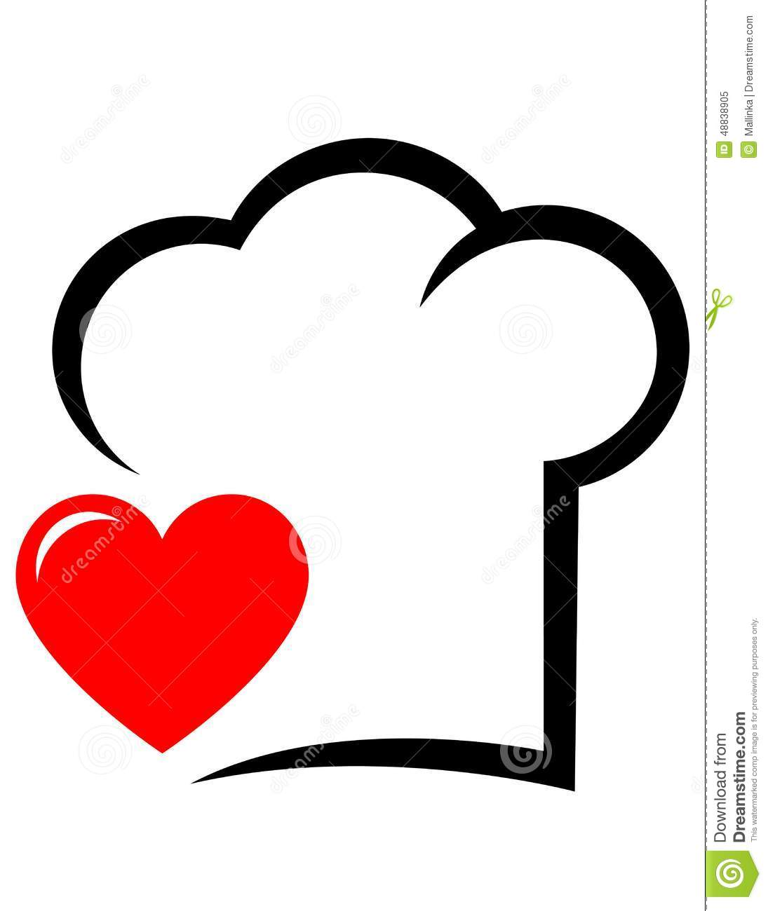 Icon with abstract chef hat and red heart on white background.