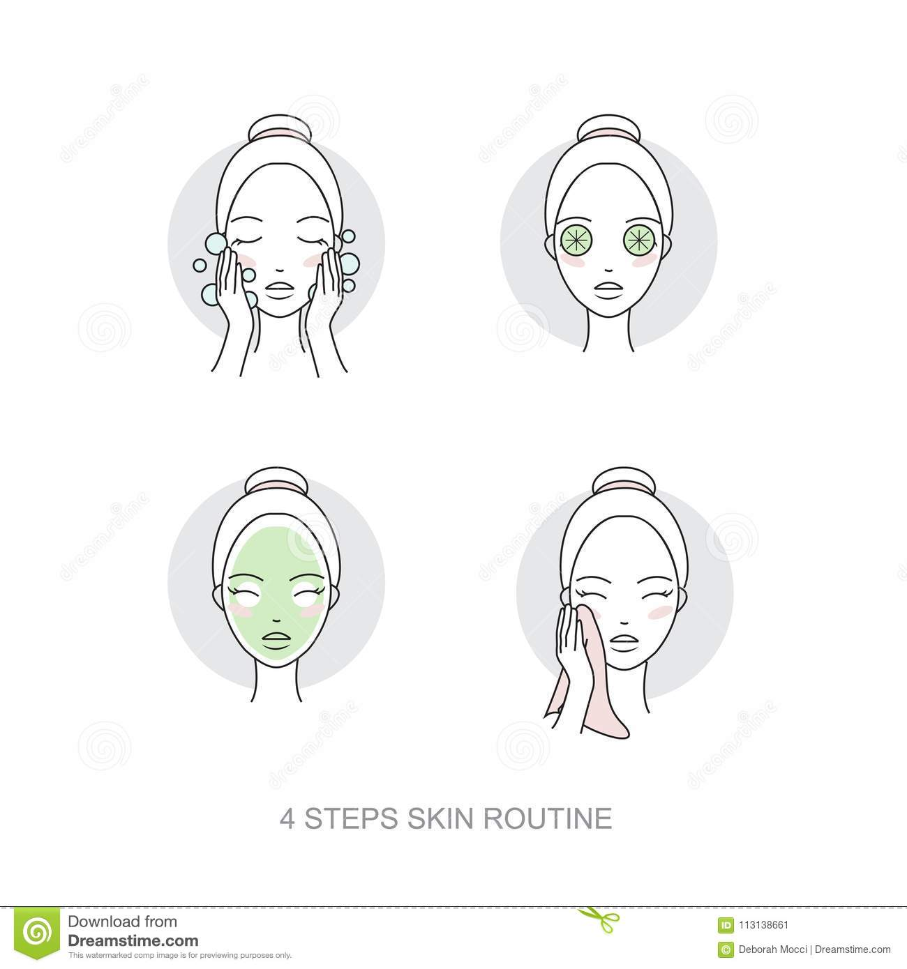 Woman skincare routine Icon collection. Steps how to apply face make-up. Vector isolated illustrations set.
