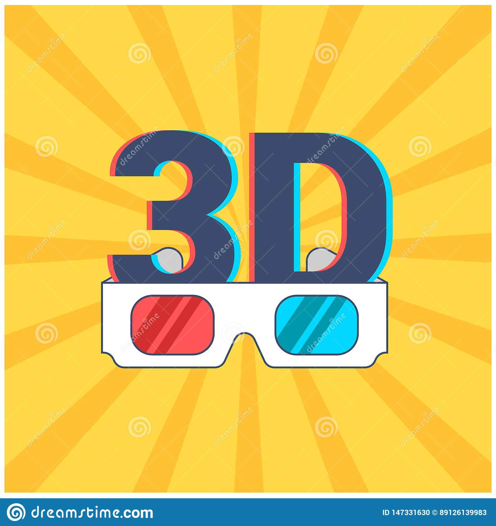 Icon of 3D and glasses with red
